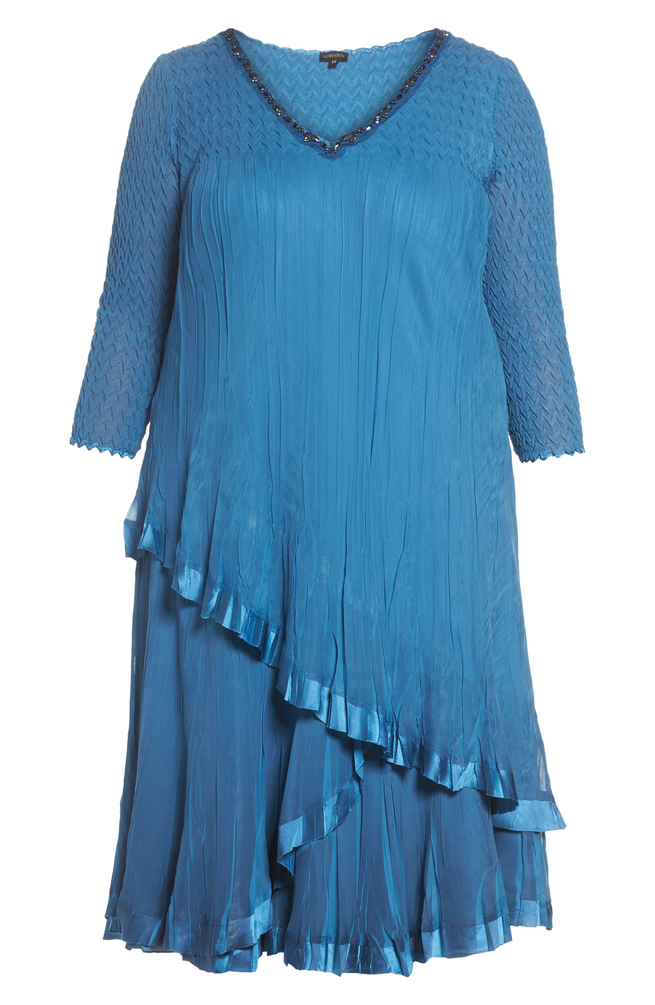 Dress Tiered Chiffon & Charmeuse Dress,                             Alternate thumbnail 6, color,                             Blue Dusk Night Ombre