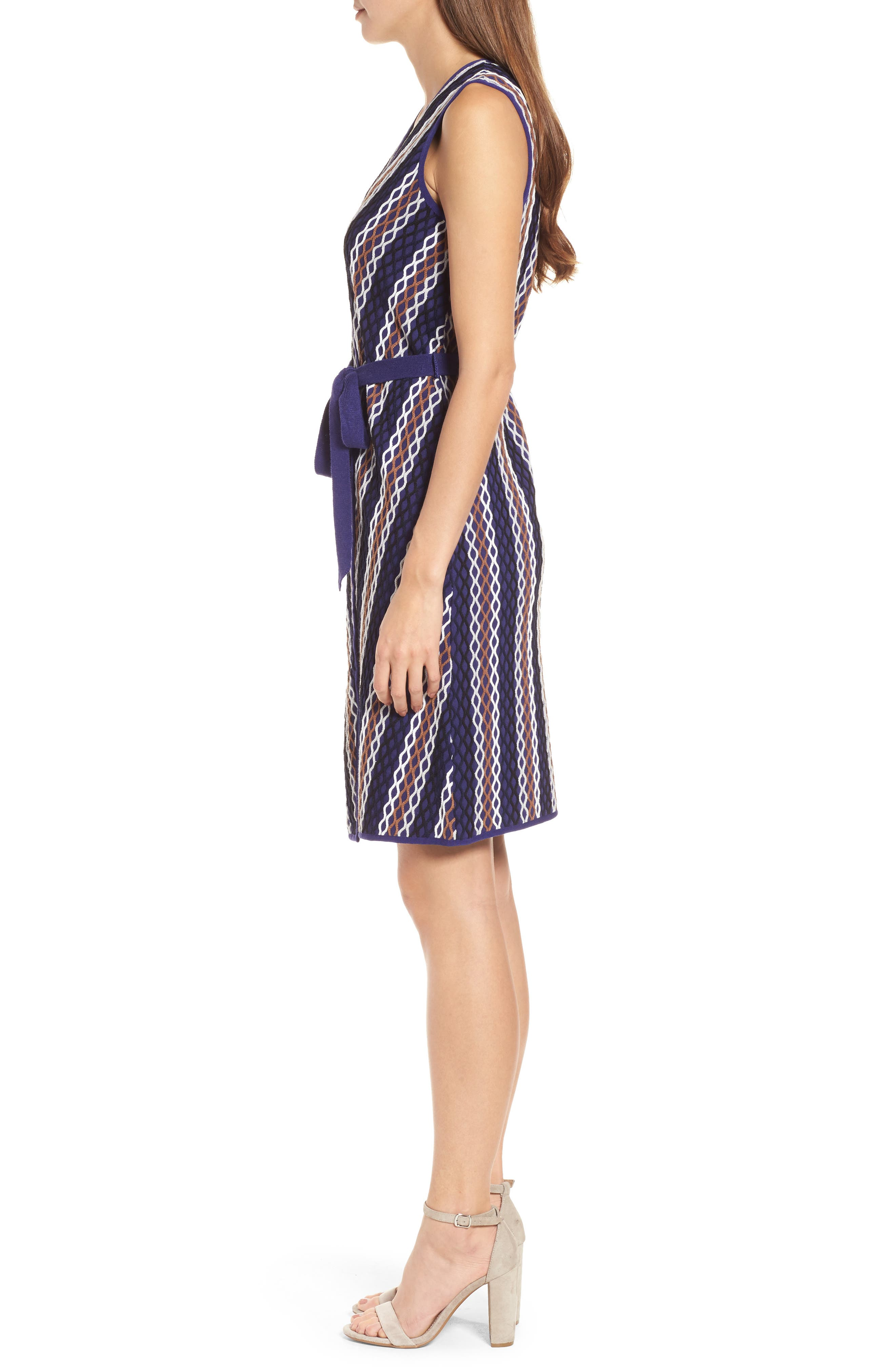 Squiggled Up Faux Wrap Dress,                             Alternate thumbnail 3, color,                             Multi