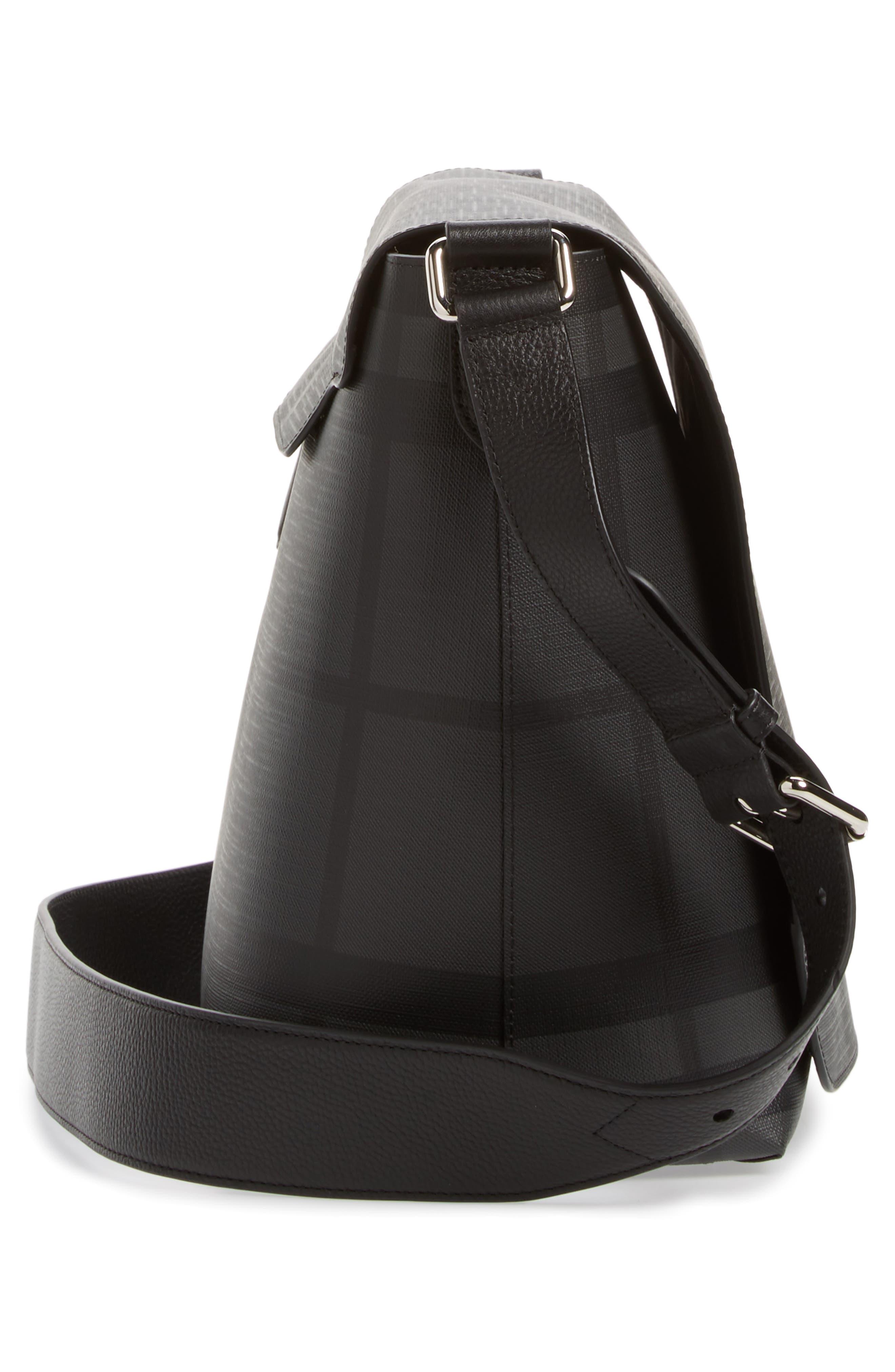 London Check Messenger Bag,                             Alternate thumbnail 5, color,                             Charcoal/ Black