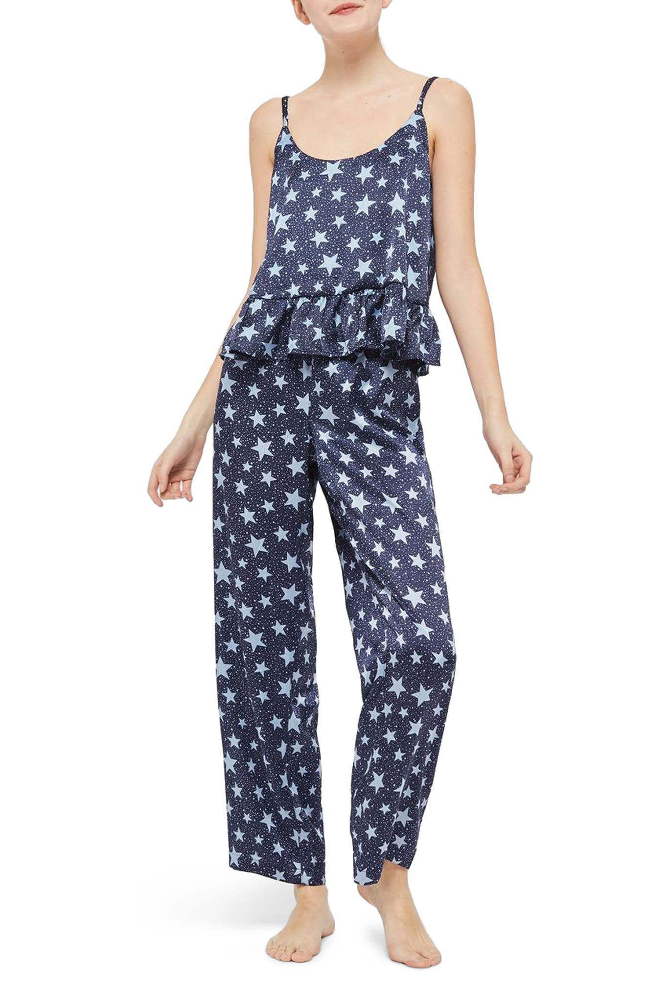 Star Satin Pajamas,                             Main thumbnail 1, color,                             Navy Blue Multi