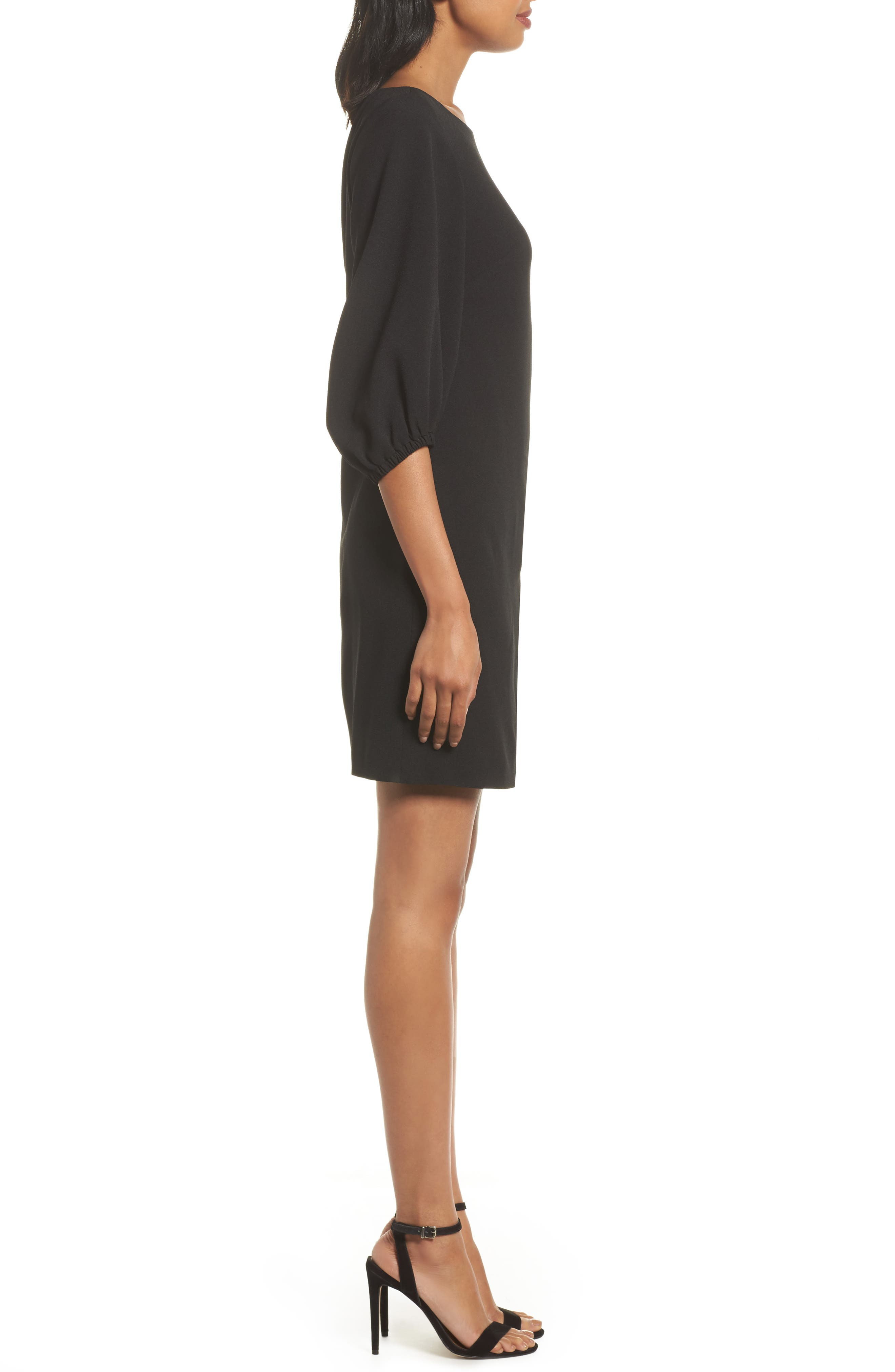 Bloused Sleeve Shift Dress,                             Alternate thumbnail 3, color,                             Black