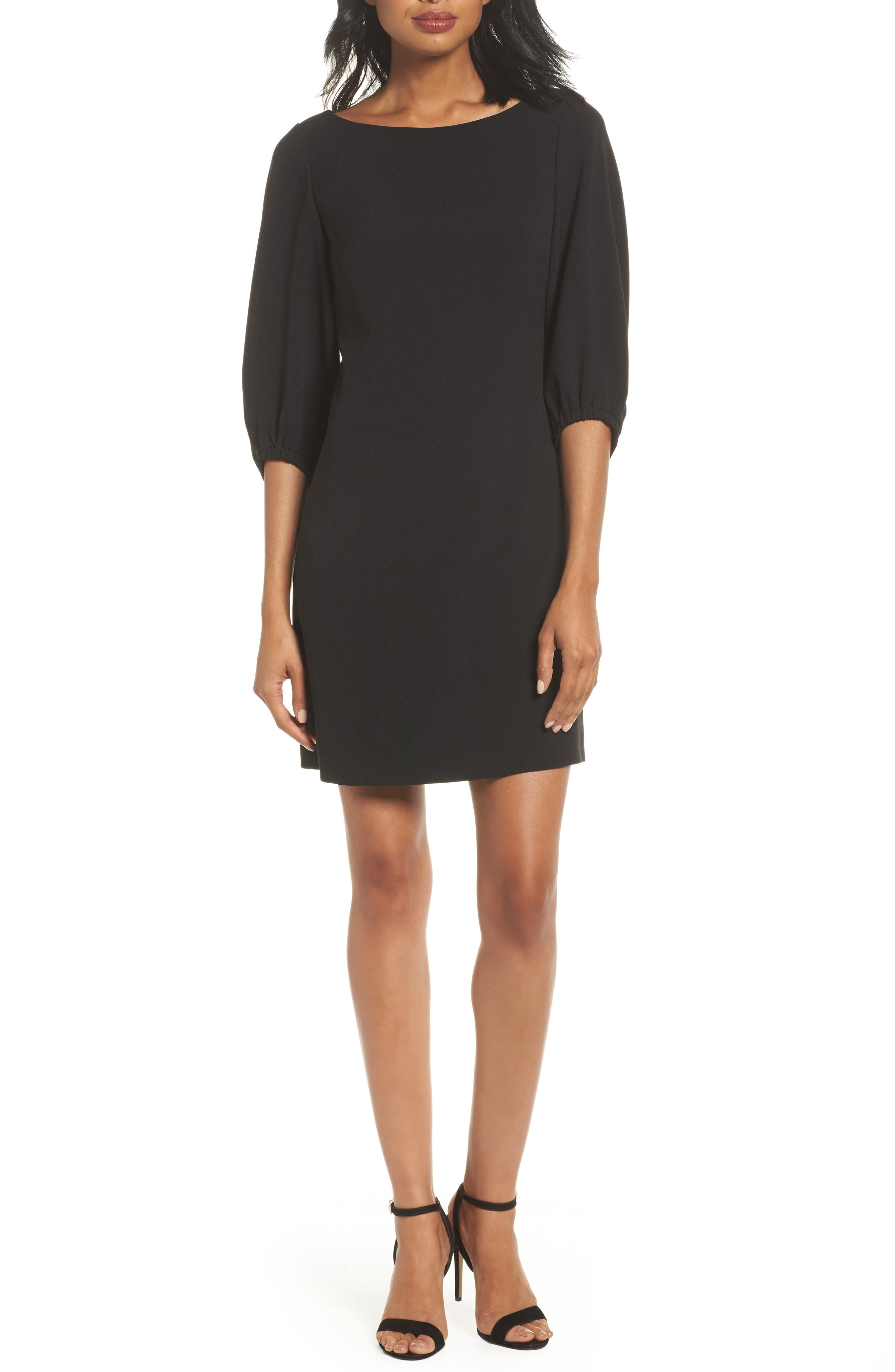 Bloused Sleeve Shift Dress,                             Main thumbnail 1, color,                             Black