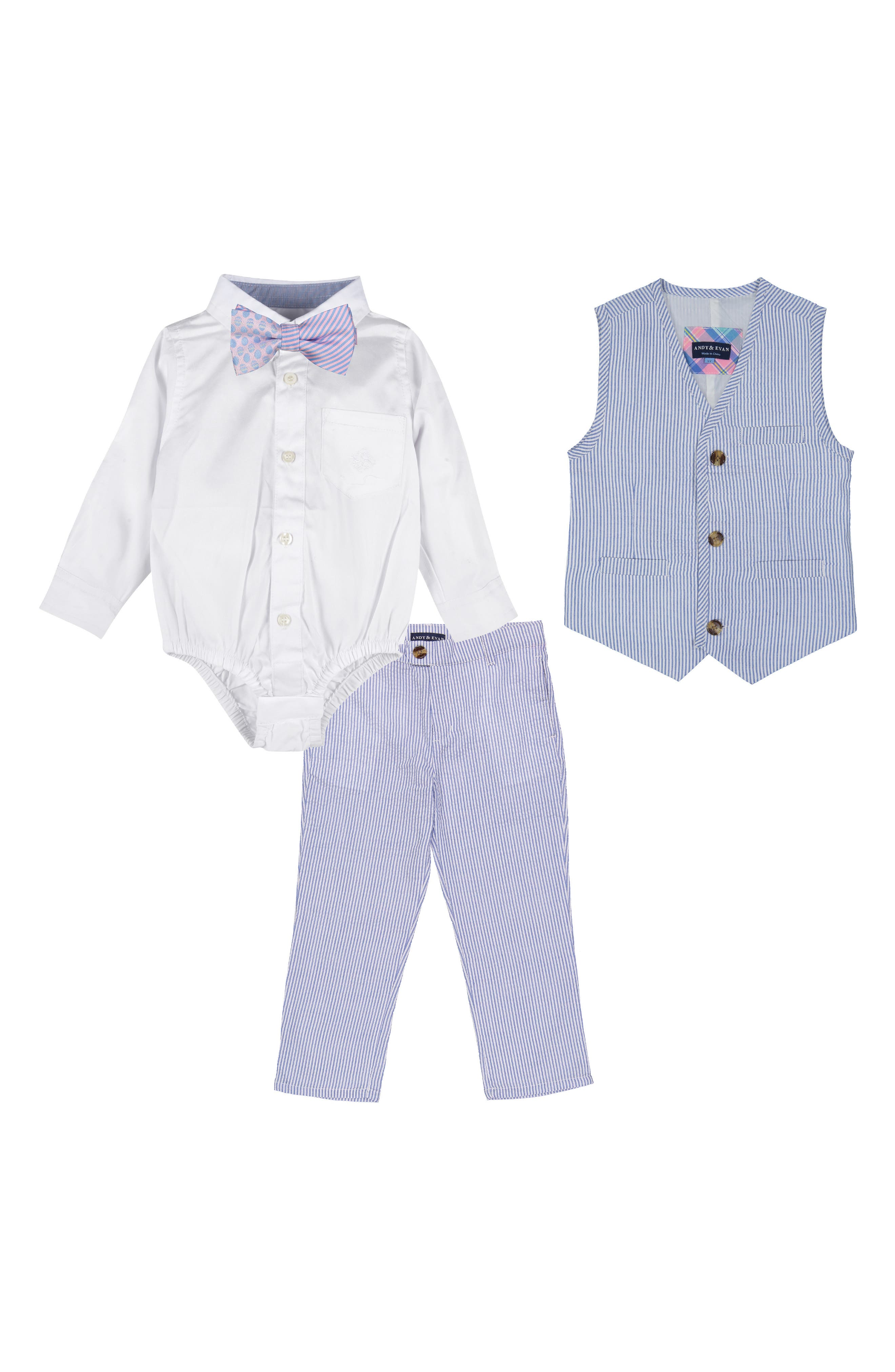 Romper, Vest & Pants Set,                         Main,                         color, Light Blue