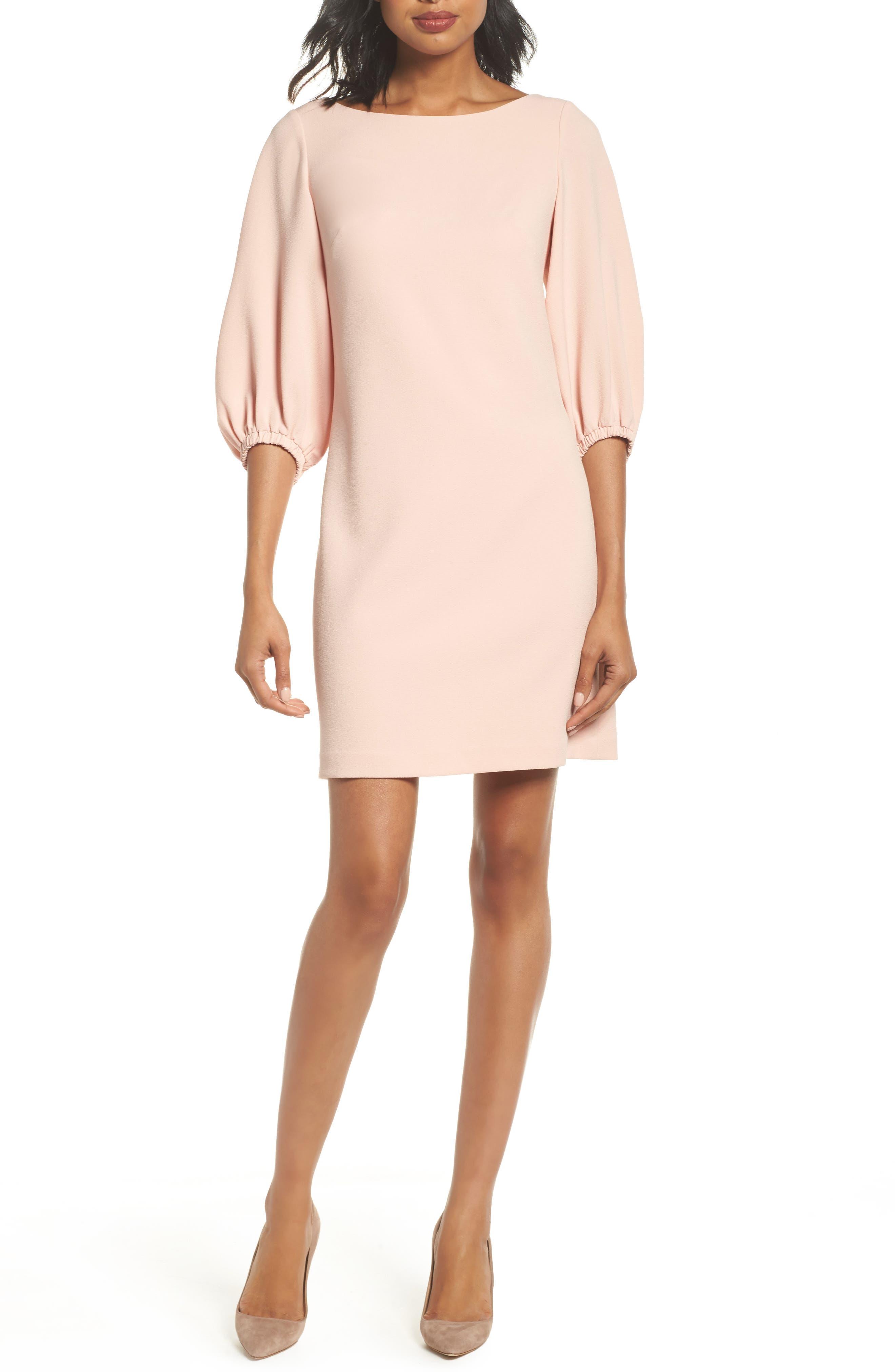 Bloused Sleeve Shift Dress,                             Main thumbnail 1, color,                             Blush