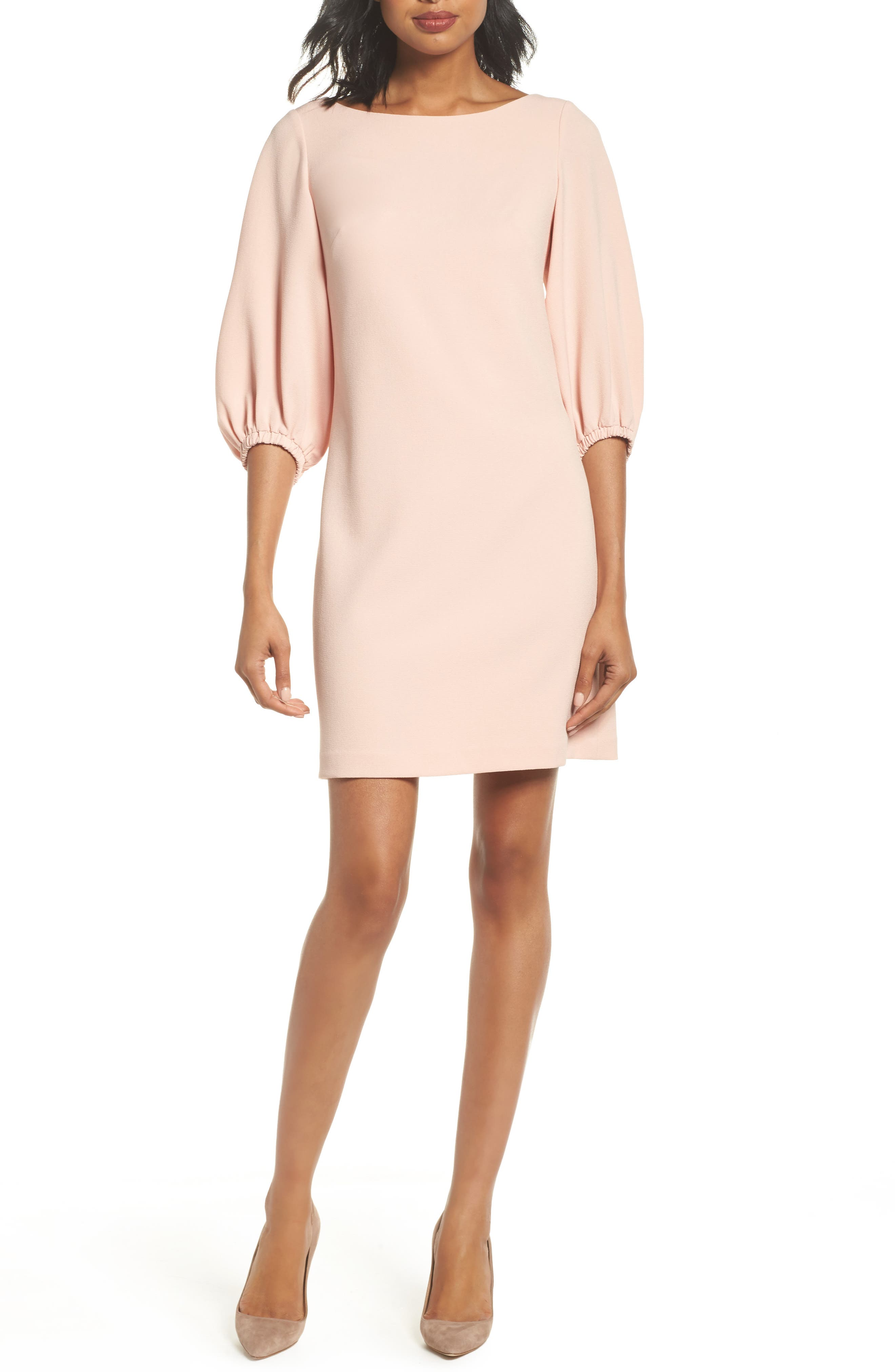 Bloused Sleeve Shift Dress,                         Main,                         color, Blush