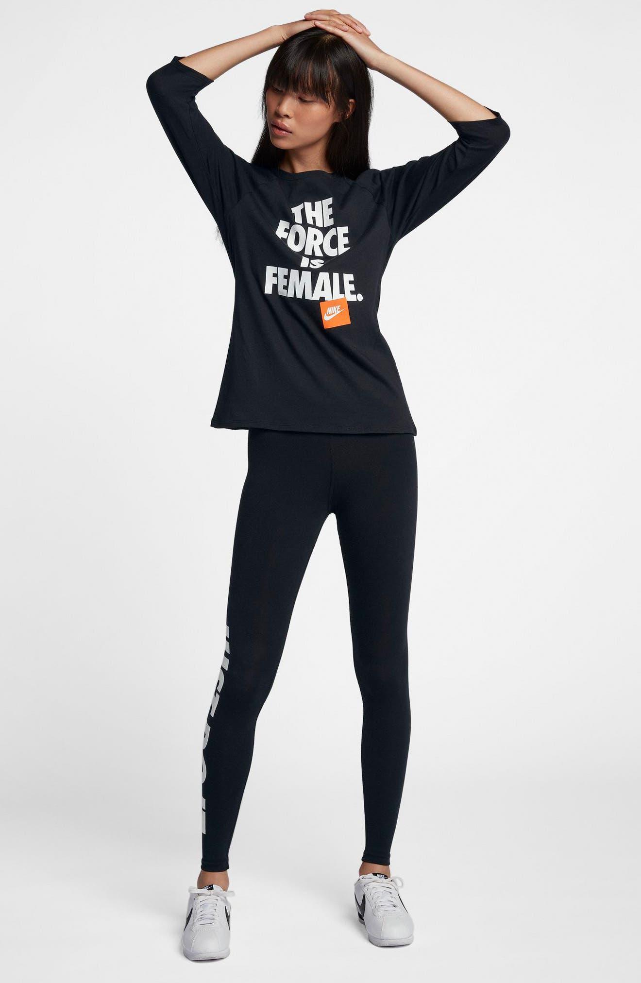 Sportswear The Force Is Female Raglan Tee,                             Alternate thumbnail 3, color,                             Black/ Black/ White