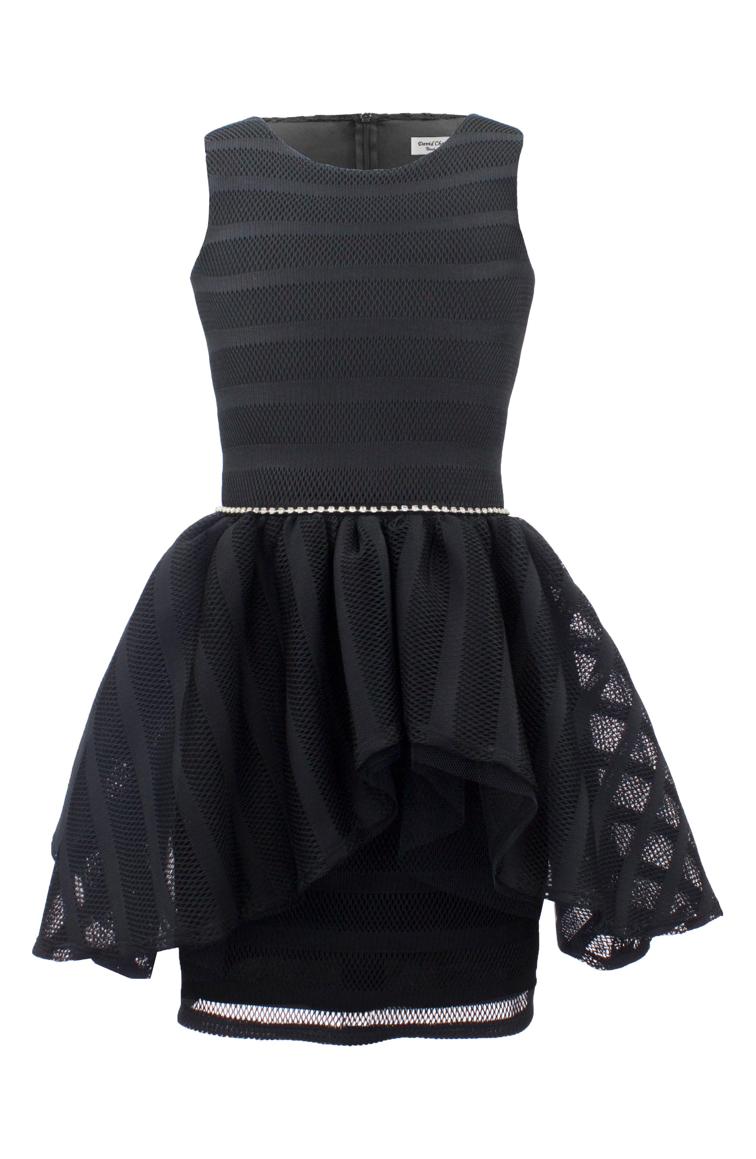 David Charles Techno Mesh Peplum Dress (Big Girls)