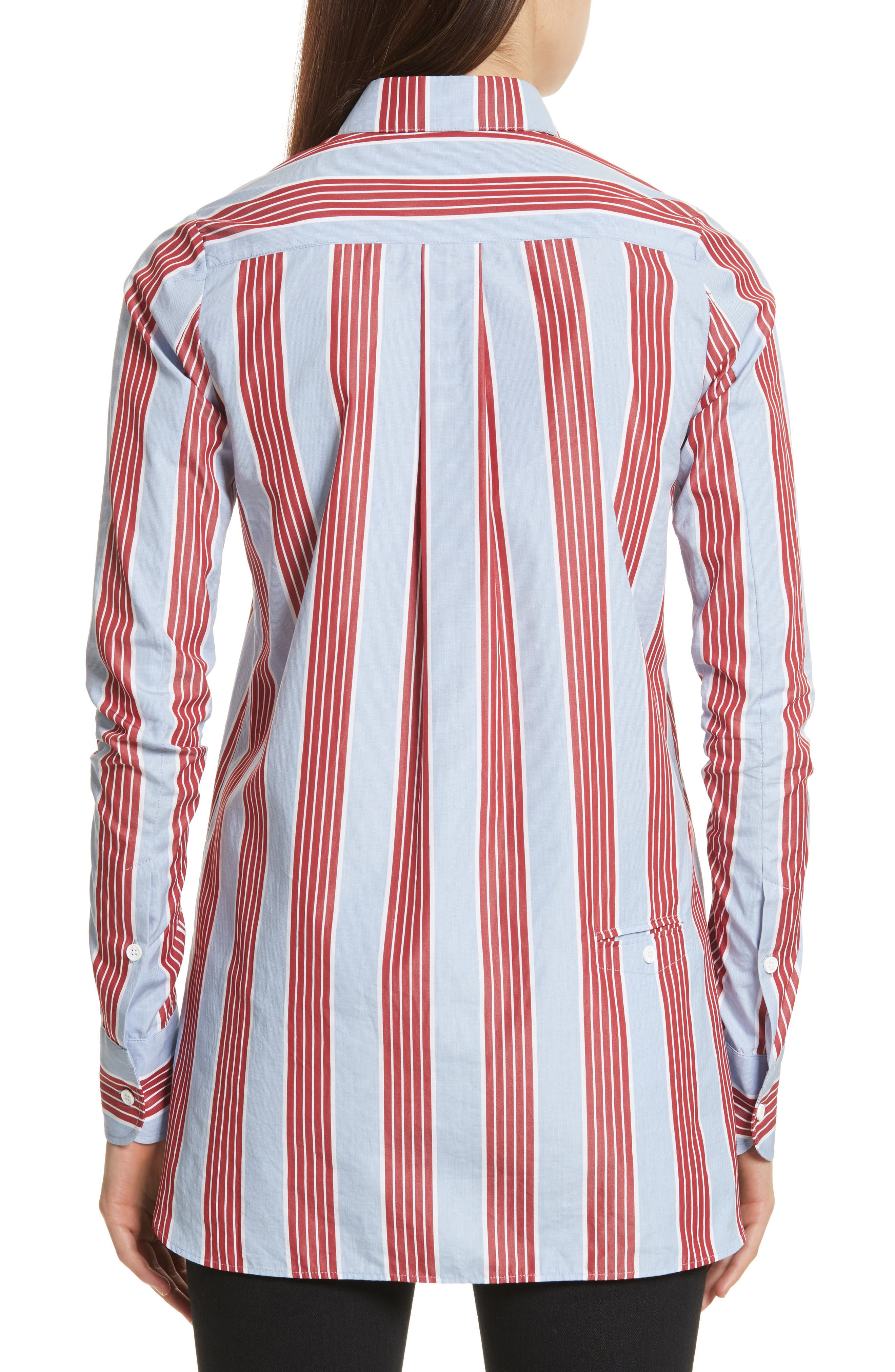 Chemise Manches Longues Stripe Shirt,                             Alternate thumbnail 2, color,                             Bleu Acier/ Rouge Fonce