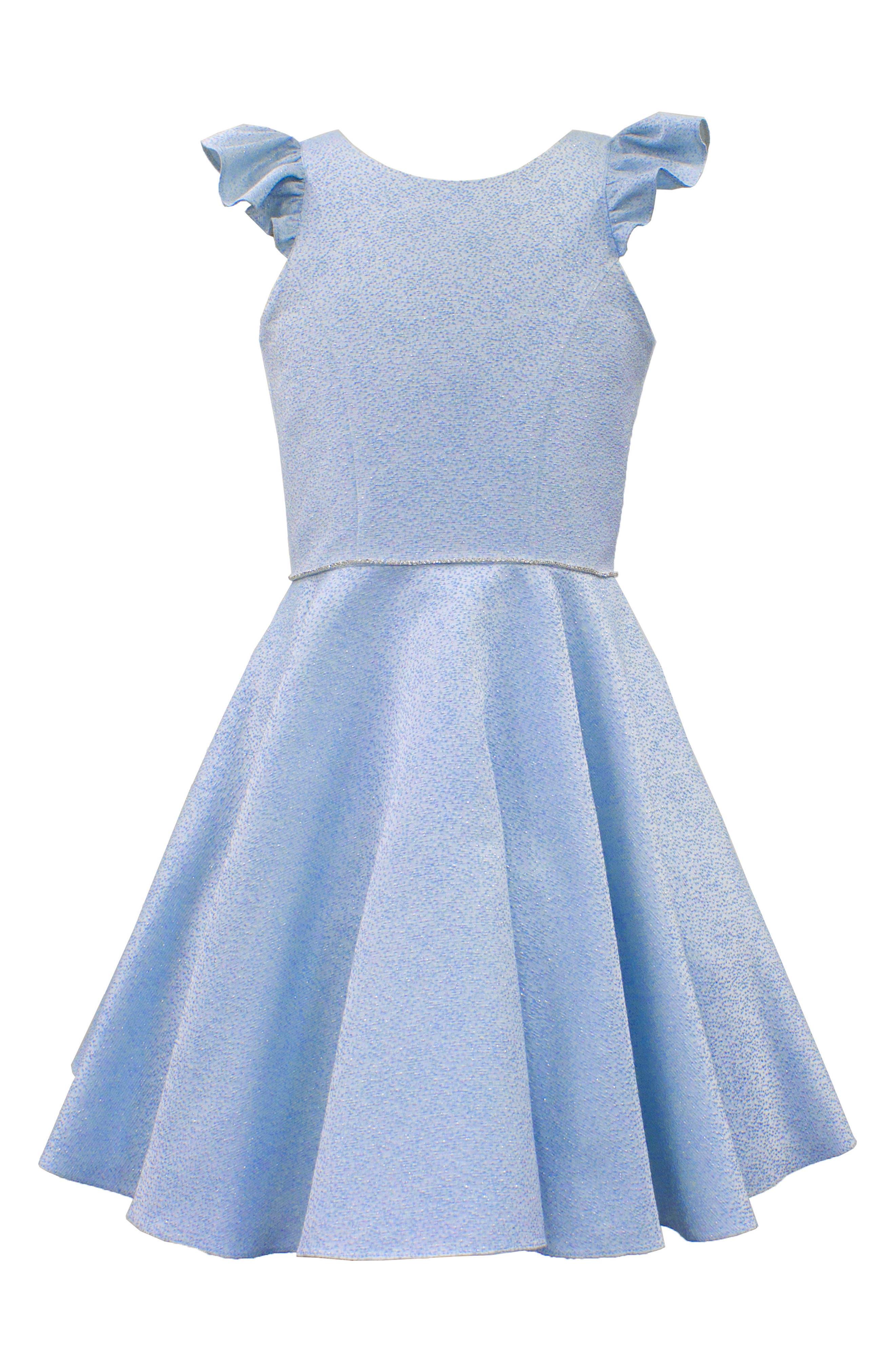Flutter Sleeve Dress,                         Main,                         color, Blue
