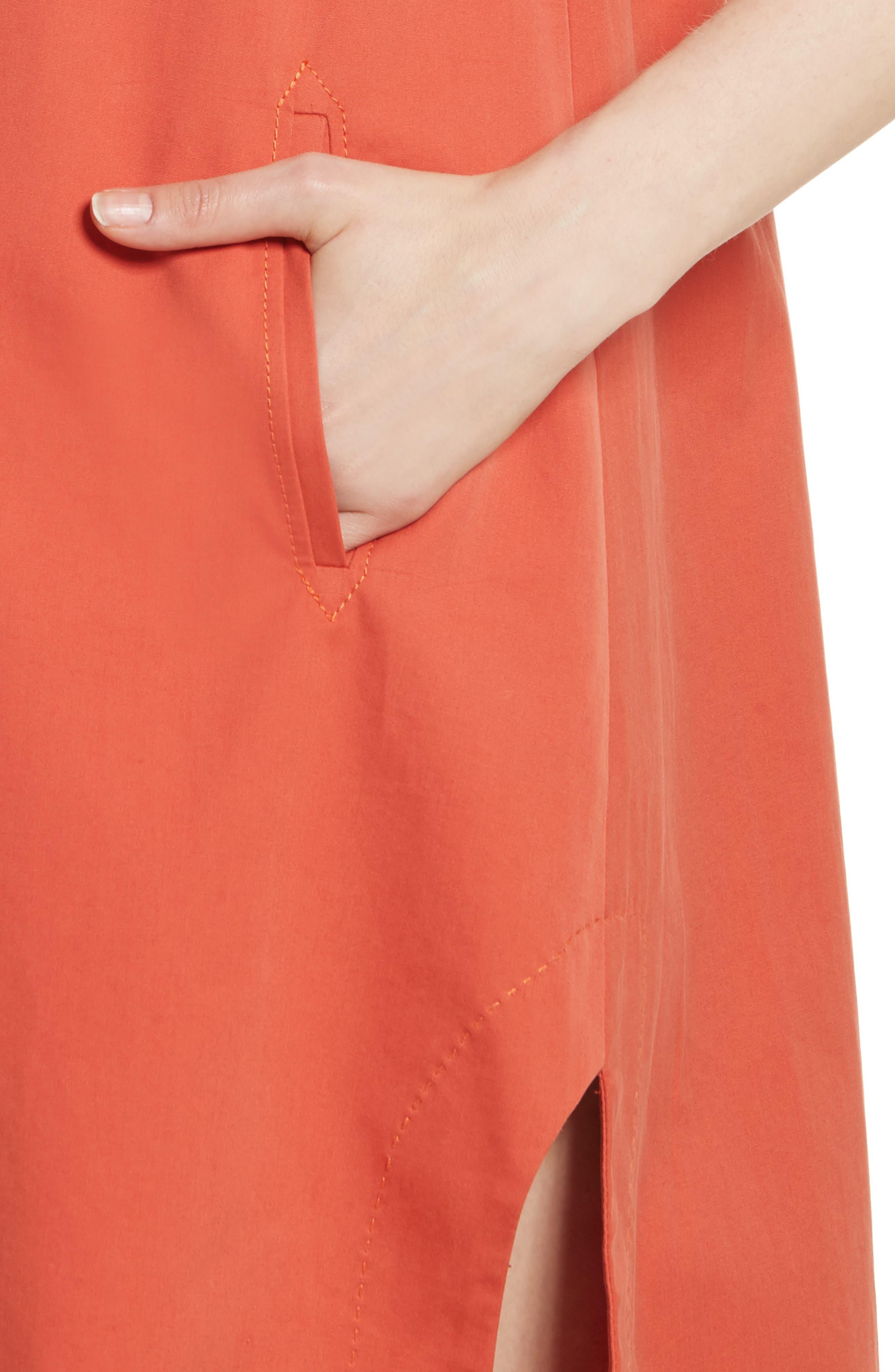 Cotton Poplin Shirtdress,                             Alternate thumbnail 4, color,                             Rust