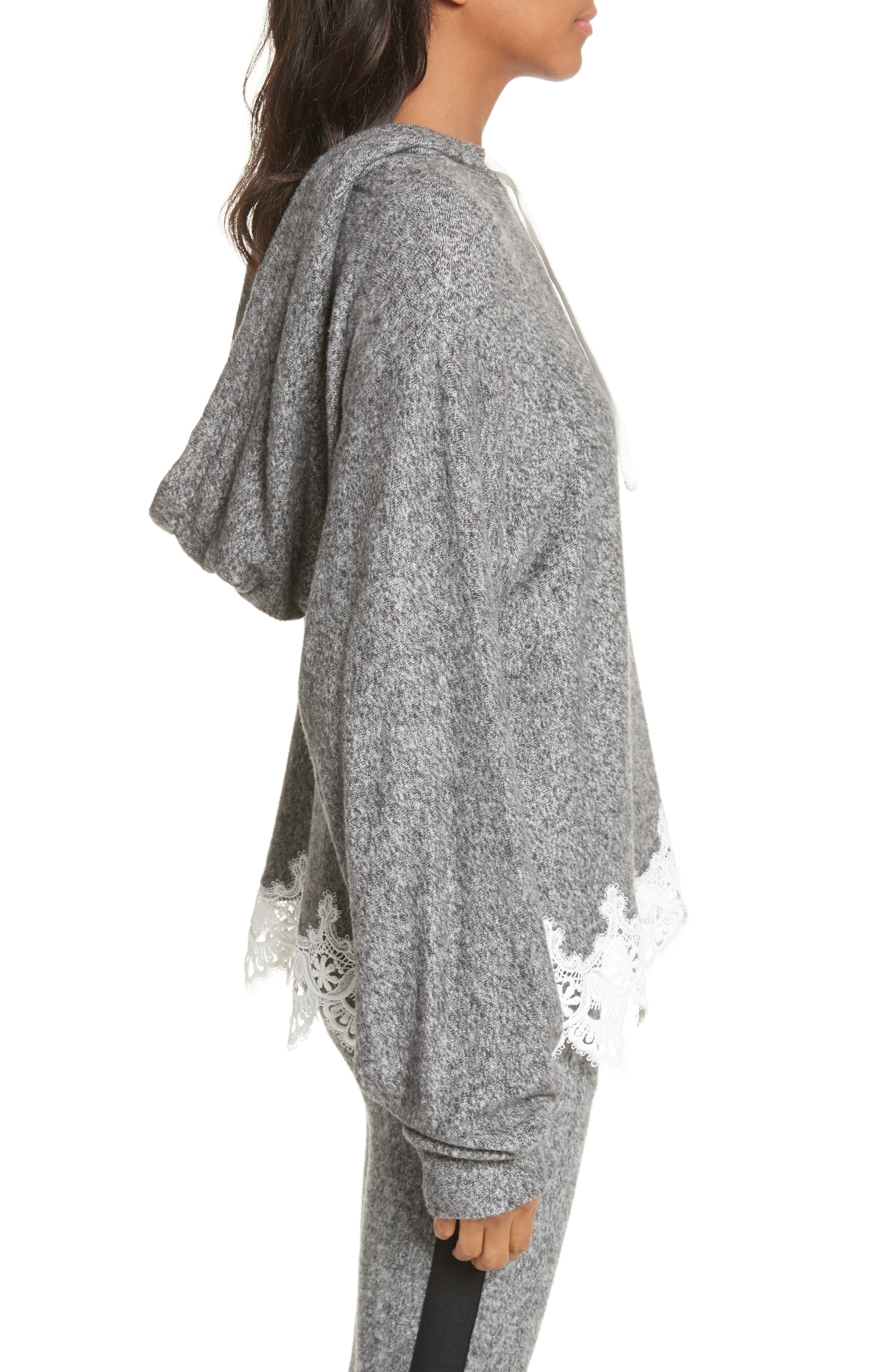 Lace Hem Hoodie,                             Alternate thumbnail 5, color,                             Grey