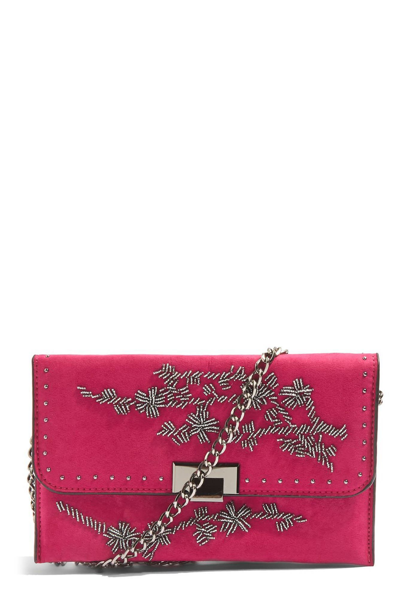 Floral Beaded Convertible Clutch,                             Main thumbnail 1, color,                             Pink Multi
