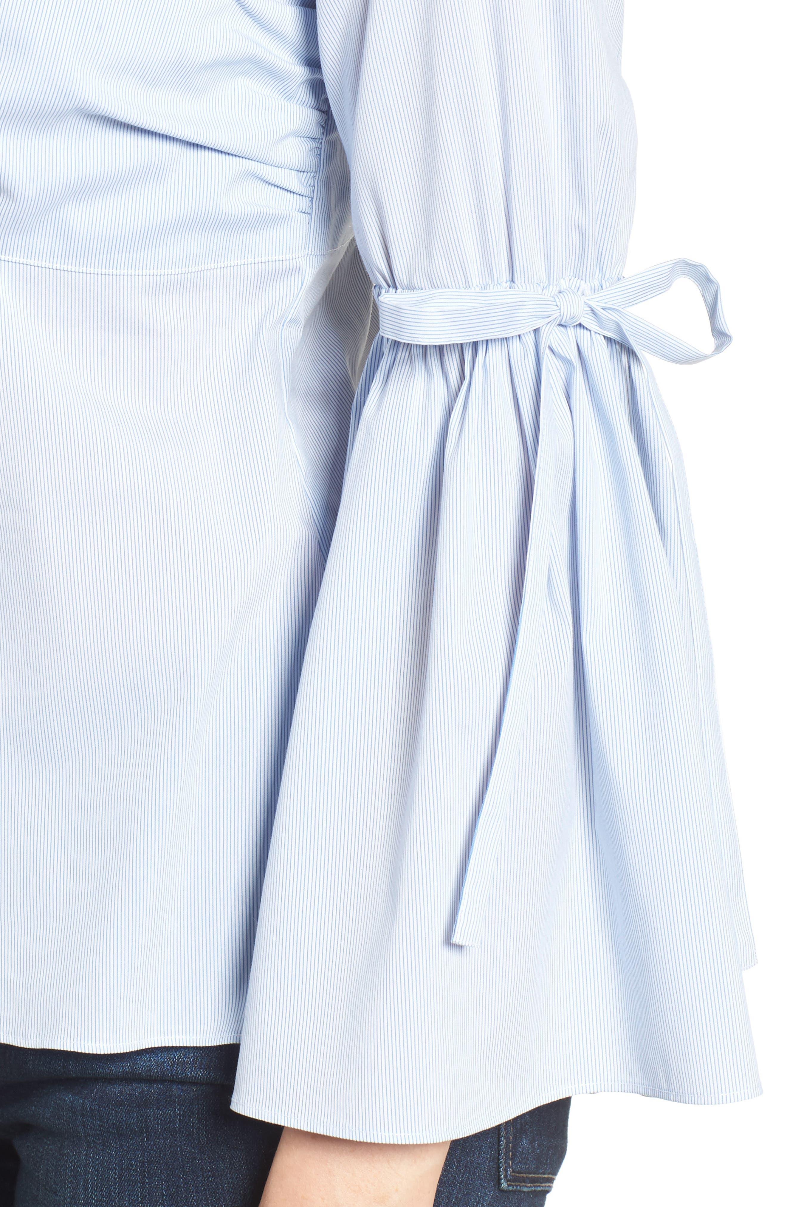 Pinstripe Poplin Blouse,                             Alternate thumbnail 5, color,                             Blue- White Pinstripe
