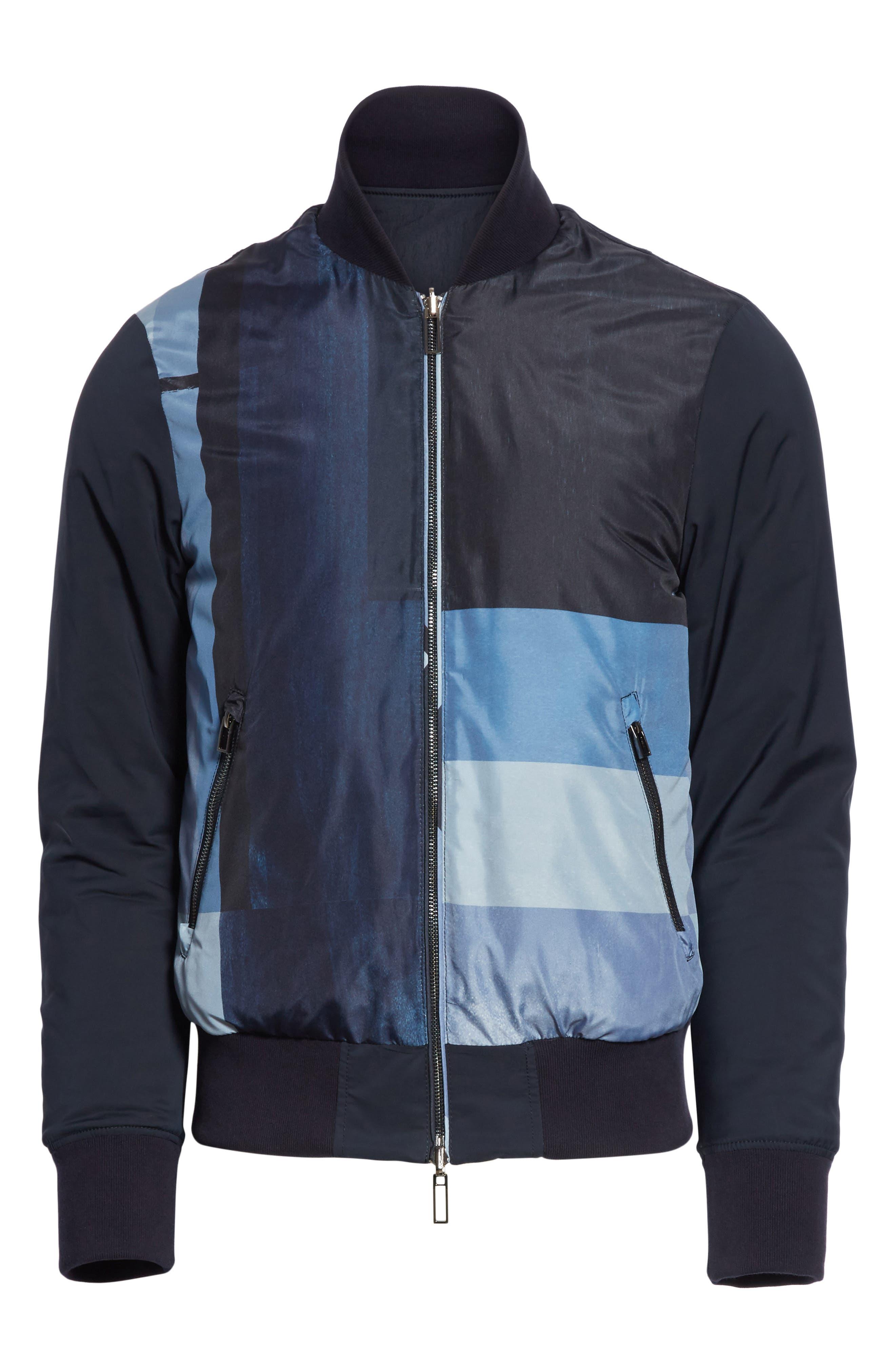 Colorblock Reversible Classic Fit Jacket,                             Alternate thumbnail 6, color,                             Blue Multi