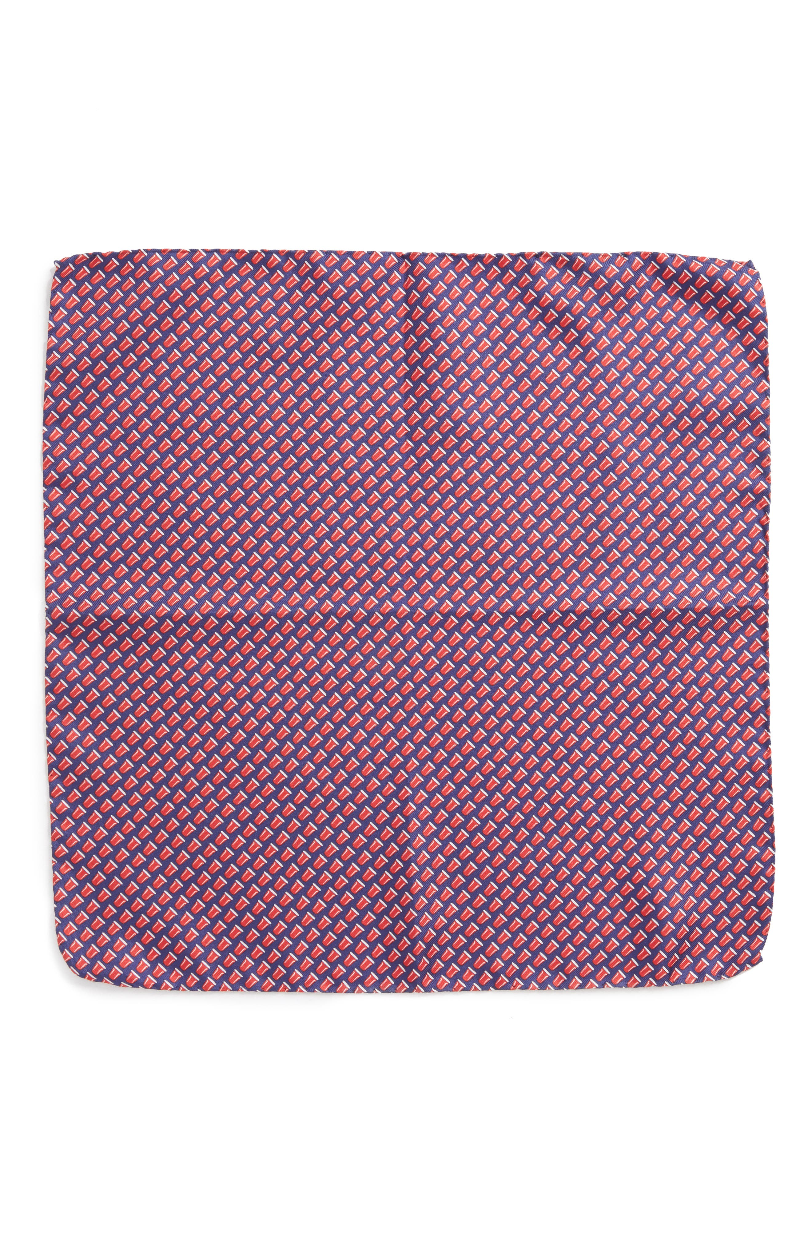 Re-Rack Silk Pocket Square,                             Alternate thumbnail 2, color,                             Navy