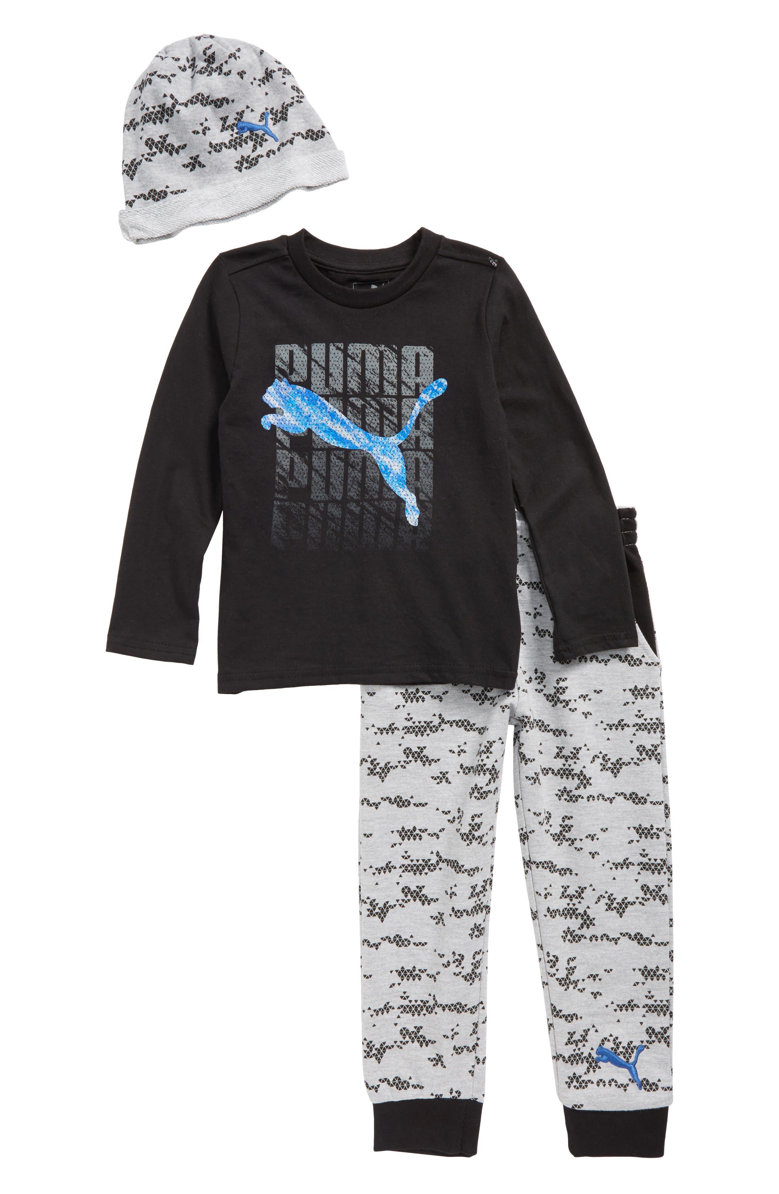 Logo T-Shirt, Jogger Pants & Beanie Set,                             Main thumbnail 1, color,                             Puma Black