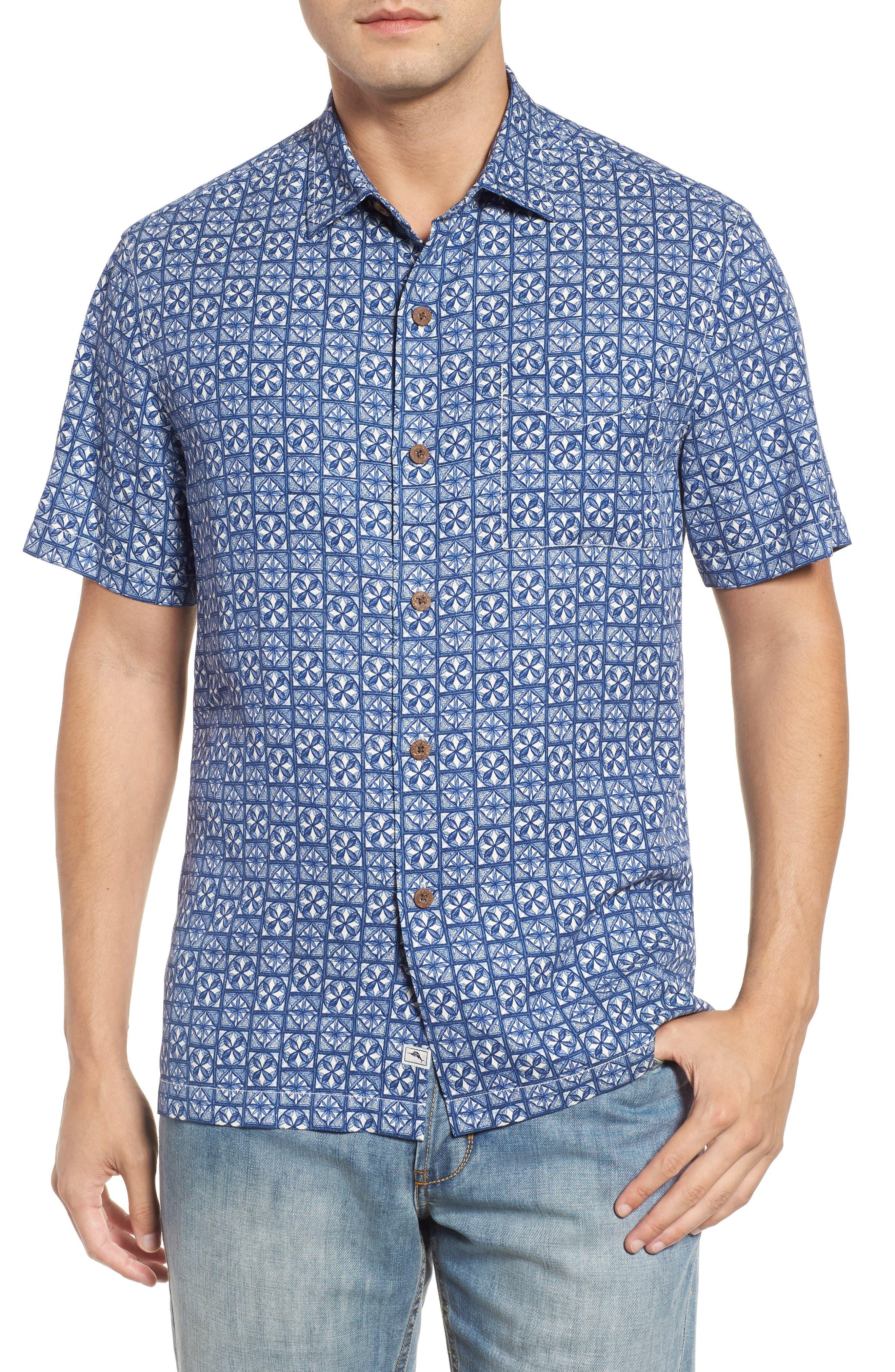Juno Beach Geo Print Silk Camp Shirt,                         Main,                         color, Chambray