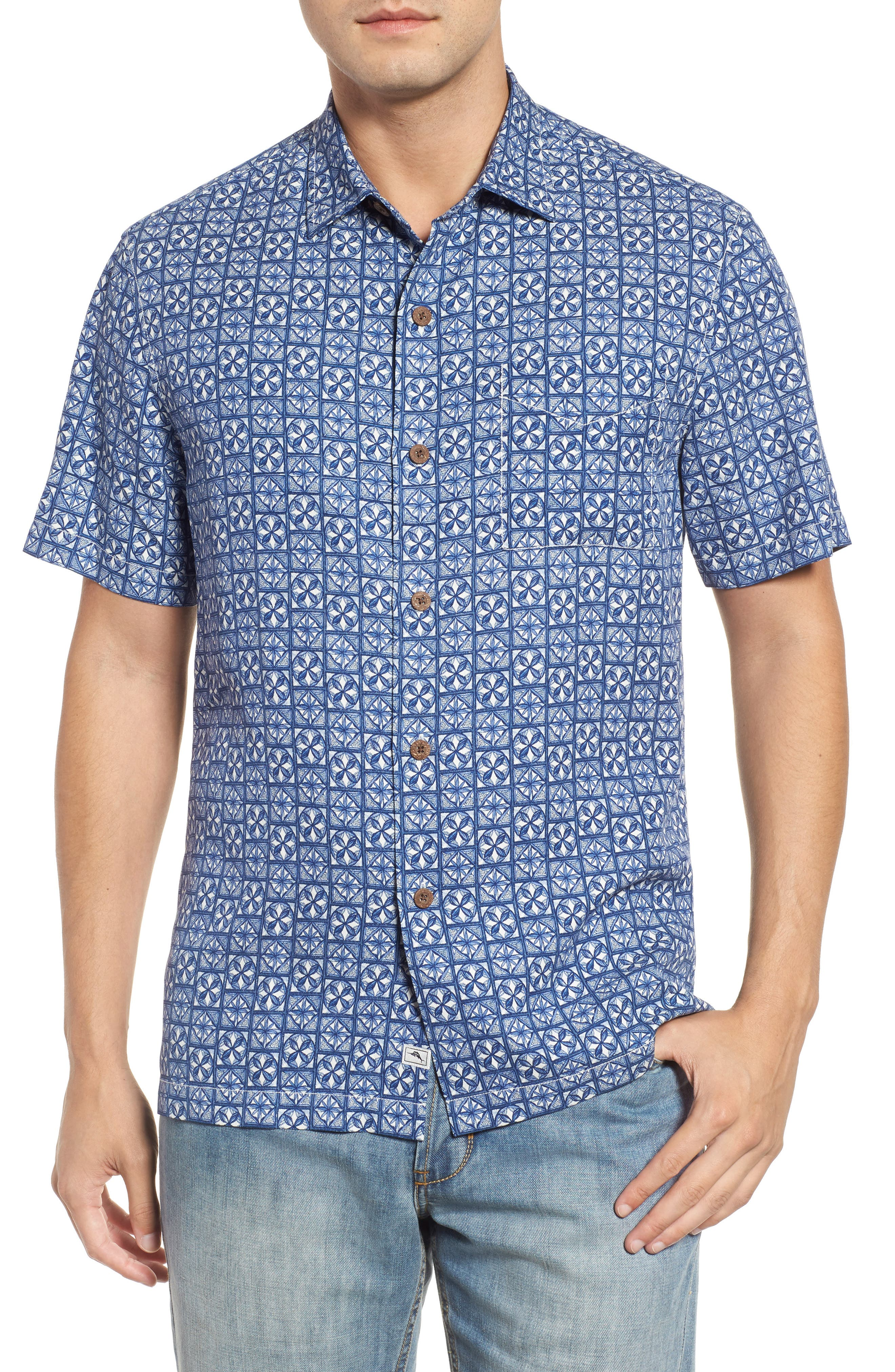 Tommy Bahama Juno Beach Geo Print Silk Camp Shirt