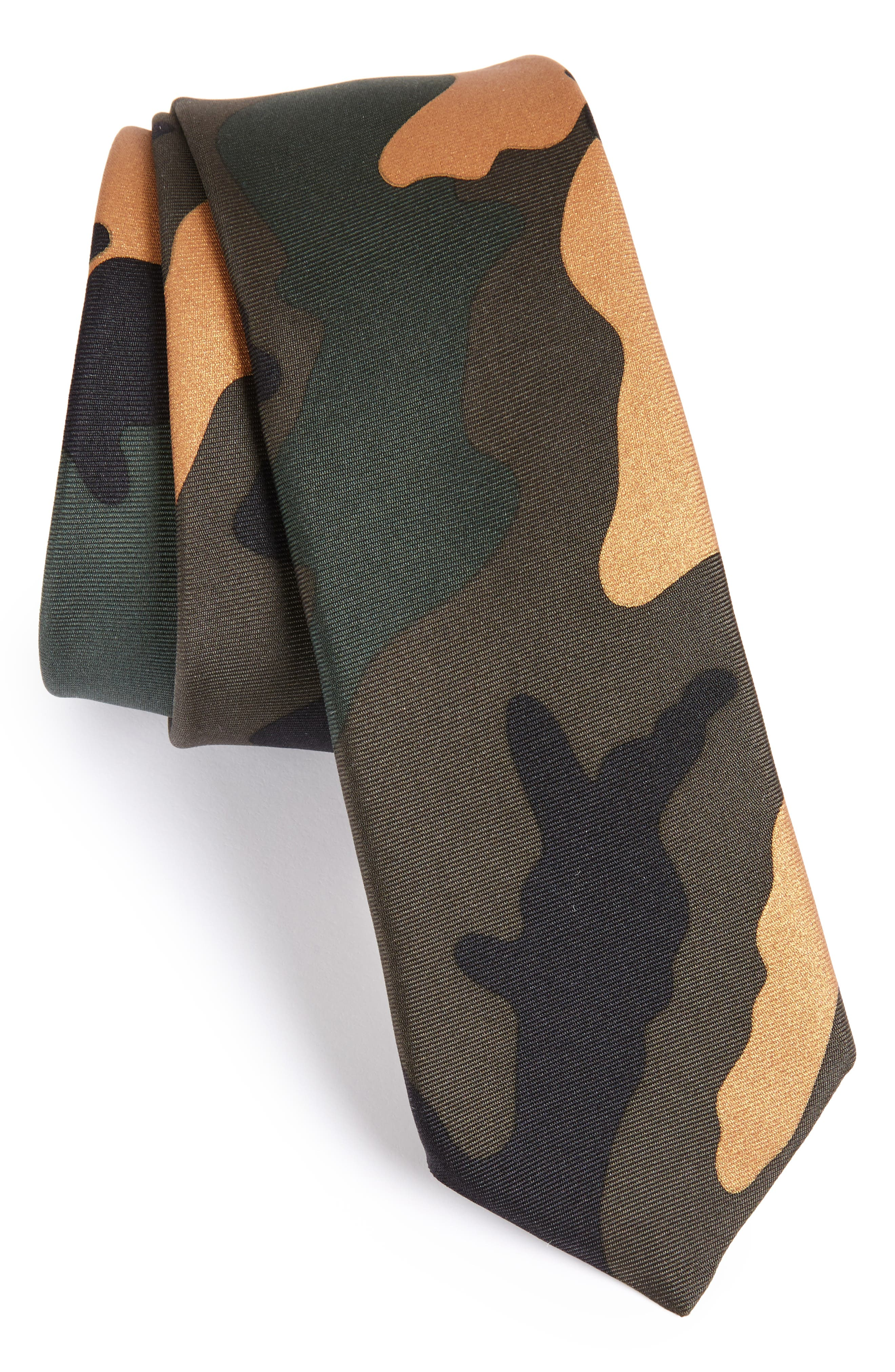 Camo Silk Skinny Tie,                             Main thumbnail 1, color,                             Army Camo