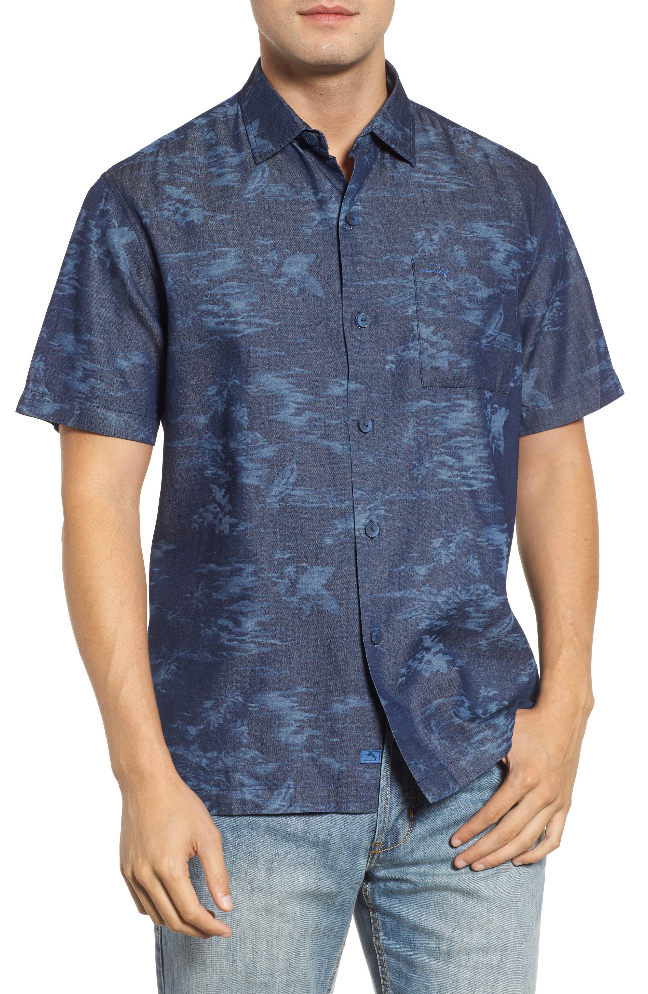South Beach Scenic Cotton & Silk Camp Shirt,                         Main,                         color, Indigo