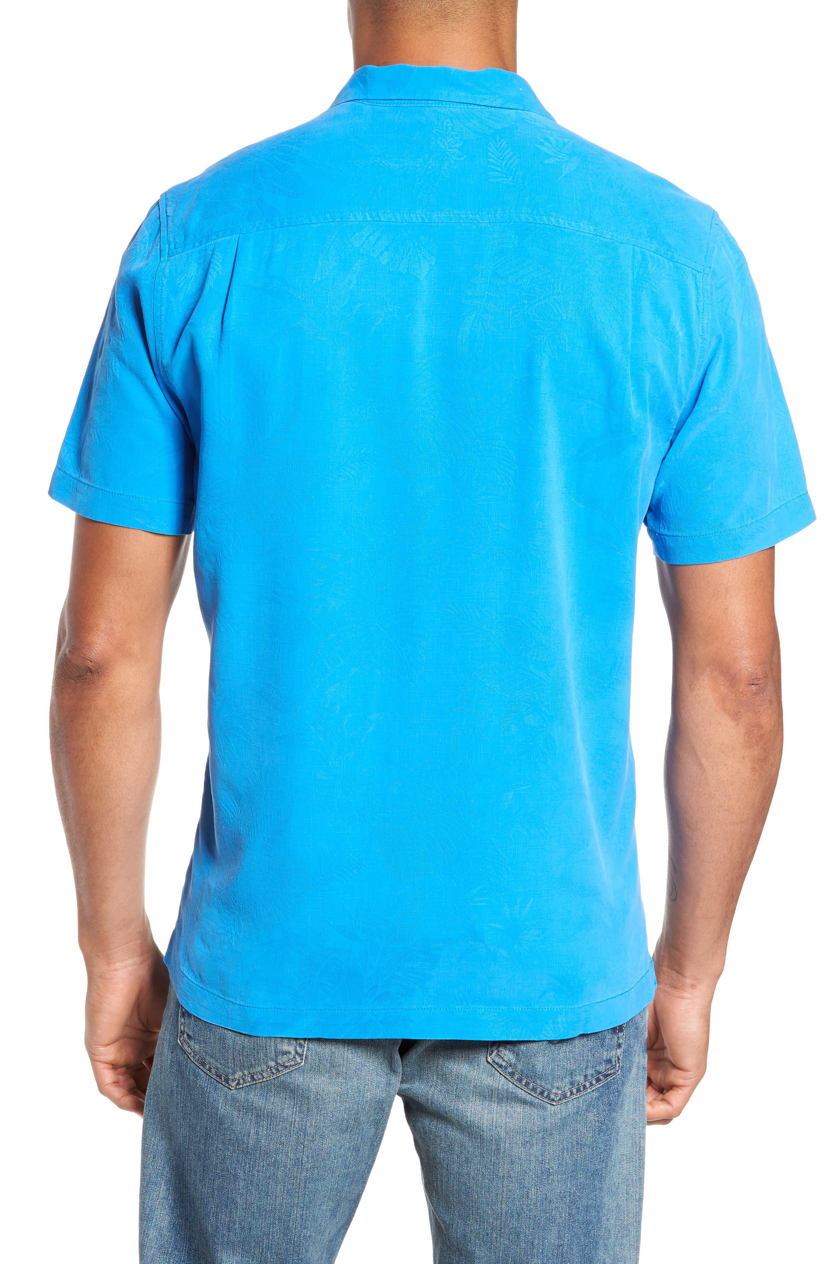 St Lucia Fronds Silk Camp Shirt,                             Alternate thumbnail 2, color,                             Santorini Blue