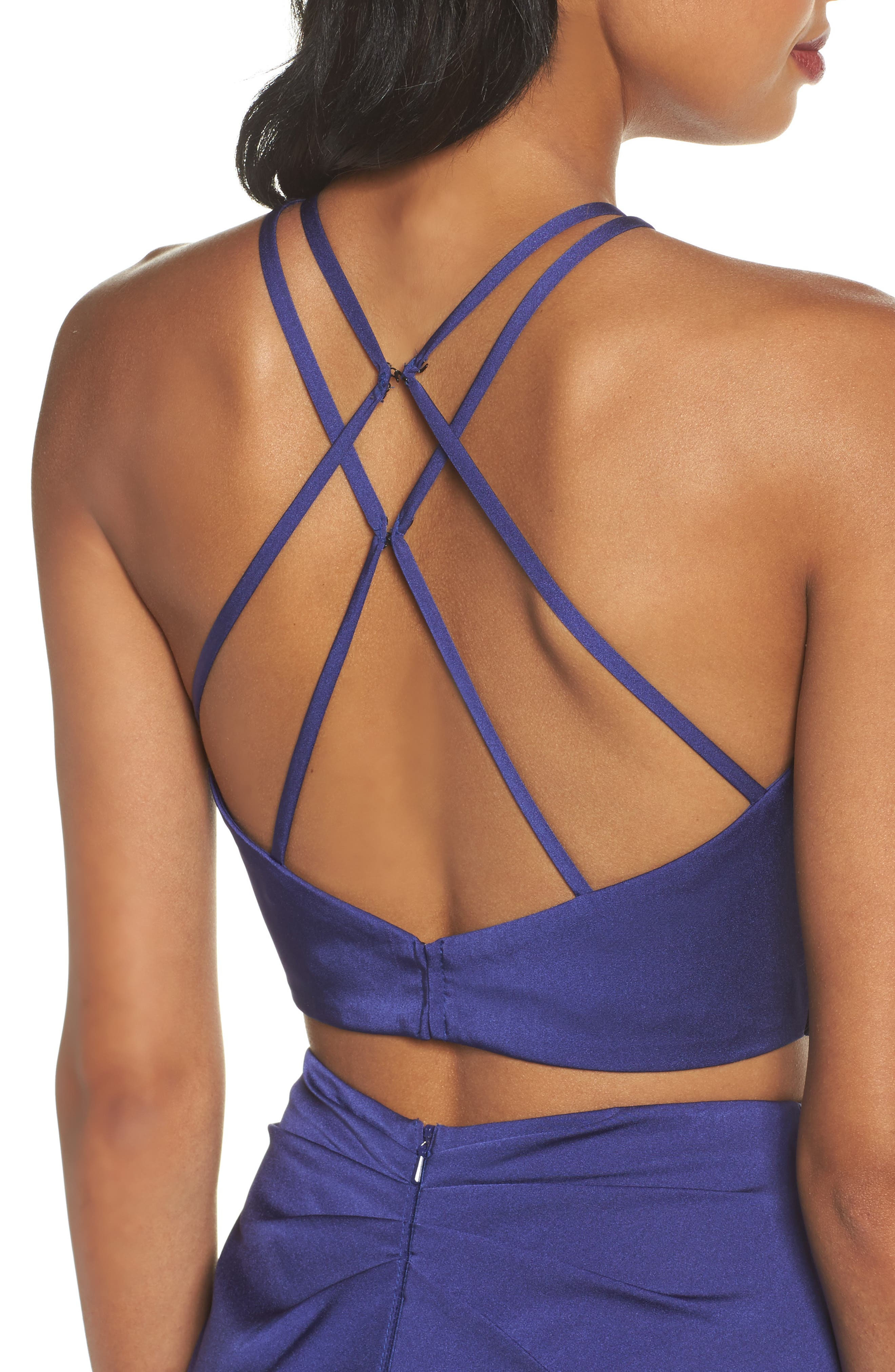 Strappy Two-Piece Sheath Gown,                             Alternate thumbnail 4, color,                             Dark Periwinkle