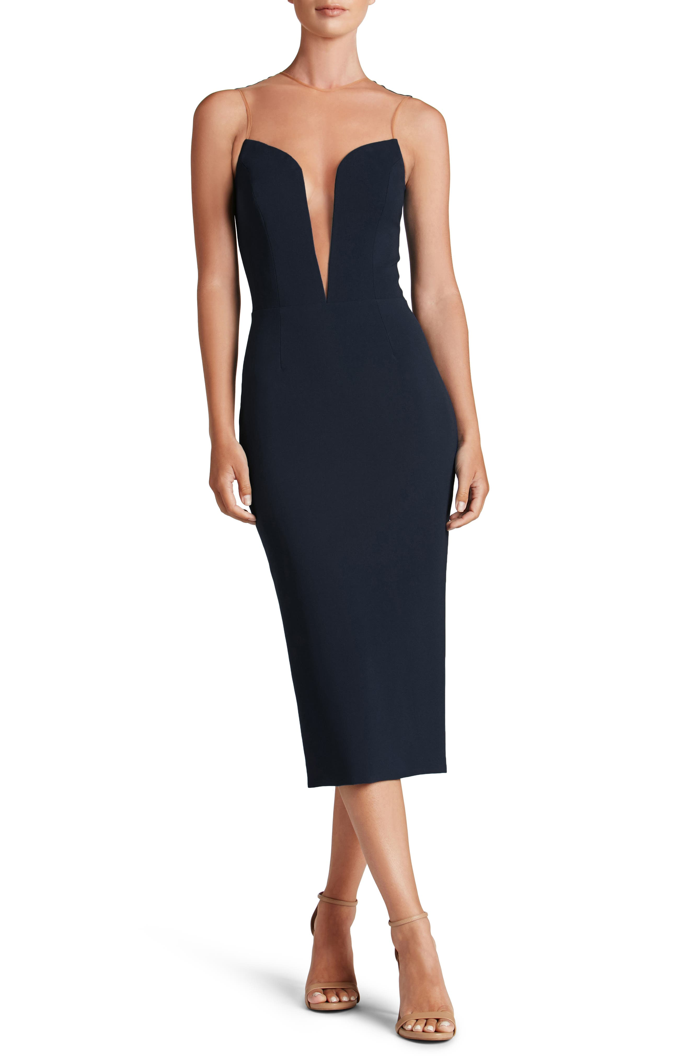 Helen Plunge Neck Midi Dress,                         Main,                         color, Midnight Blue