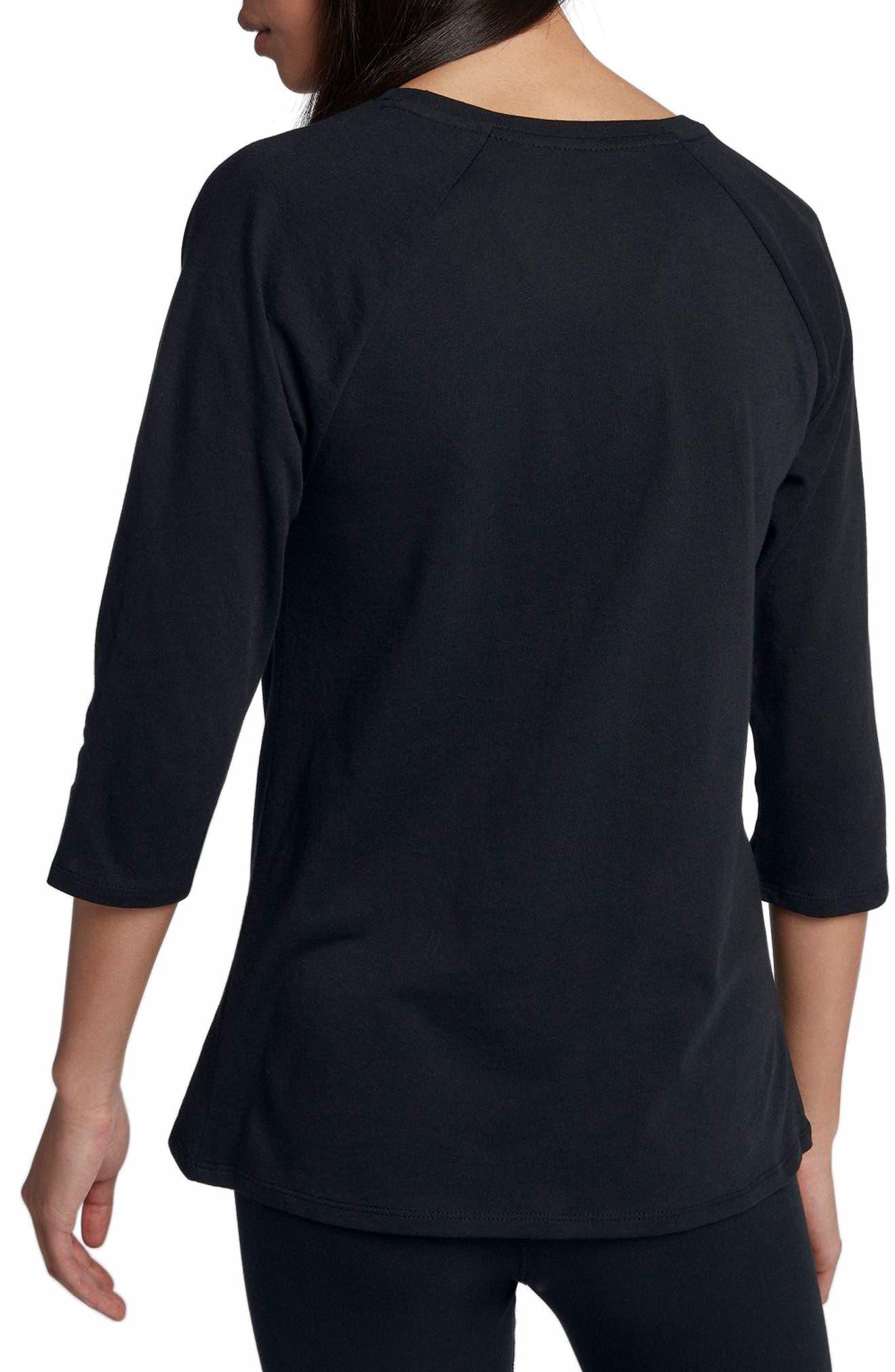 Sportswear The Force Is Female Raglan Tee,                             Alternate thumbnail 2, color,                             Black/ Black/ White