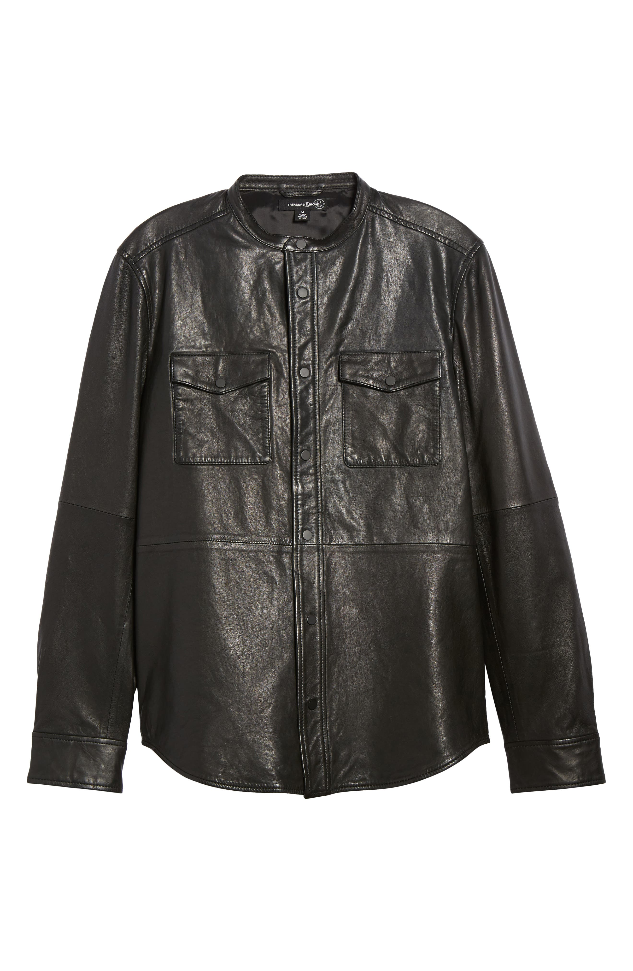 Atwater Leather Shirt Jacket,                             Alternate thumbnail 6, color,                             Black