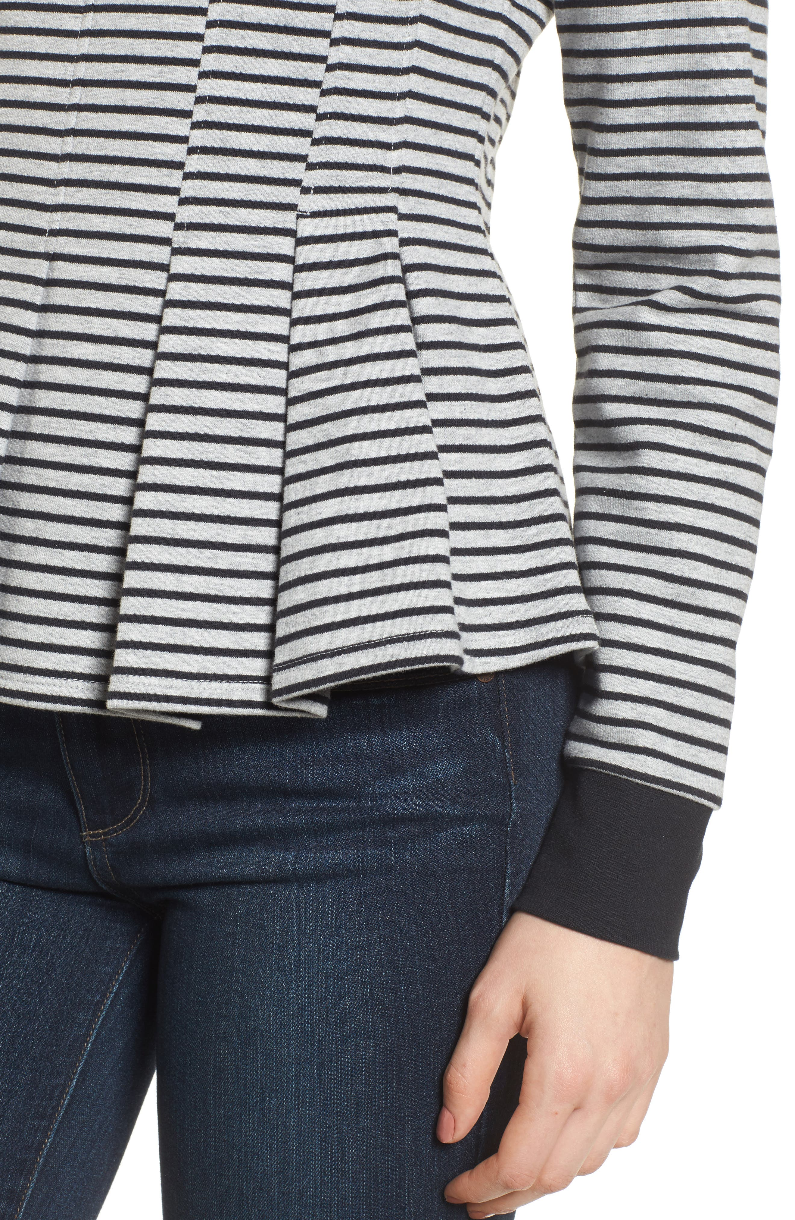 Pleated Sweatshirt,                             Alternate thumbnail 4, color,                             Grey Heather- Navy Seam Stripe