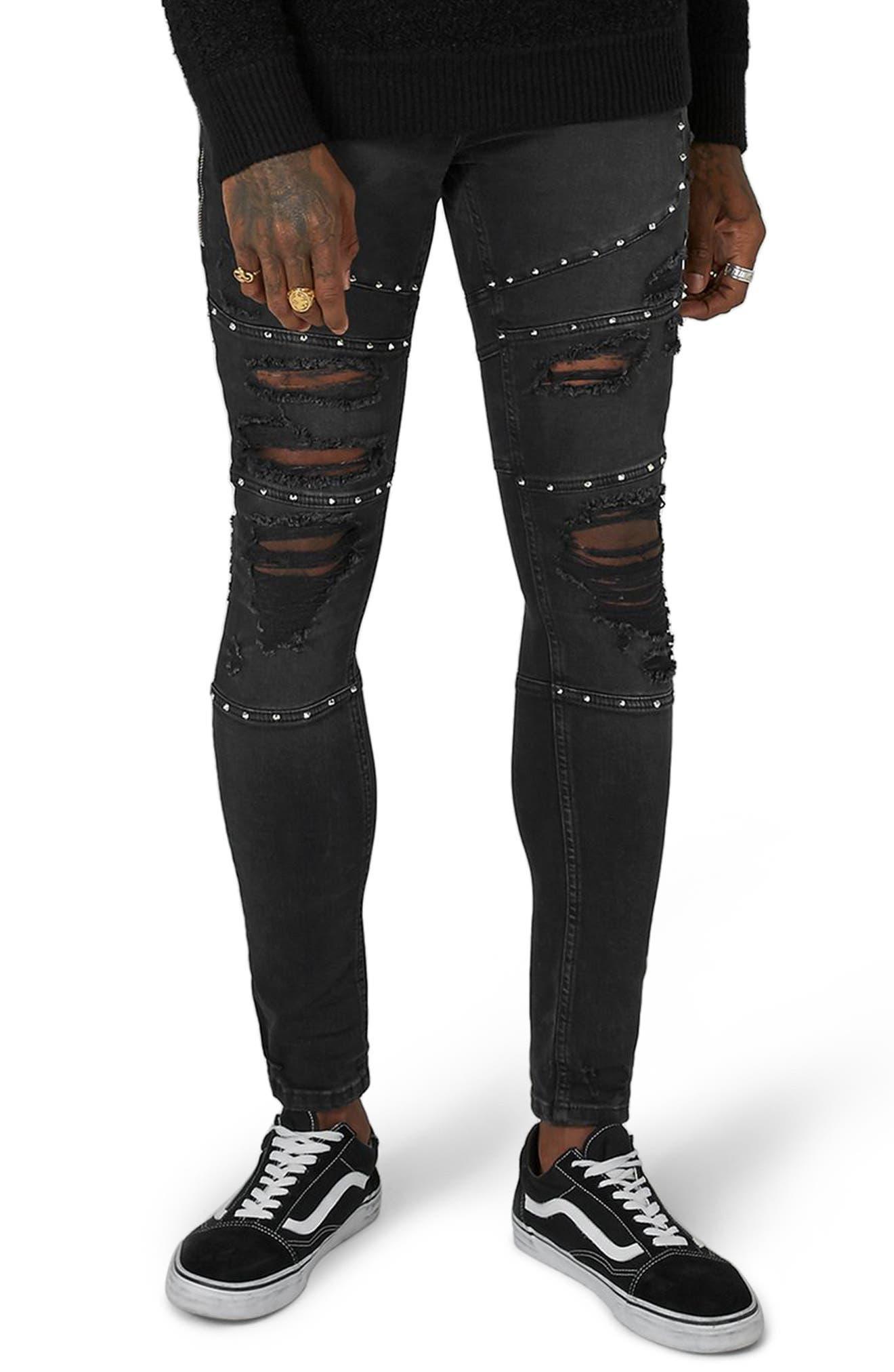 Studded Spray-On Biker Jeans,                             Main thumbnail 1, color,                             Black