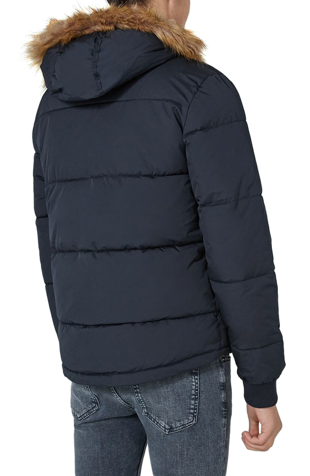 Alternate Image 2  - Topman Maguire Hooded Puffer Coat with Faux Fur Trim