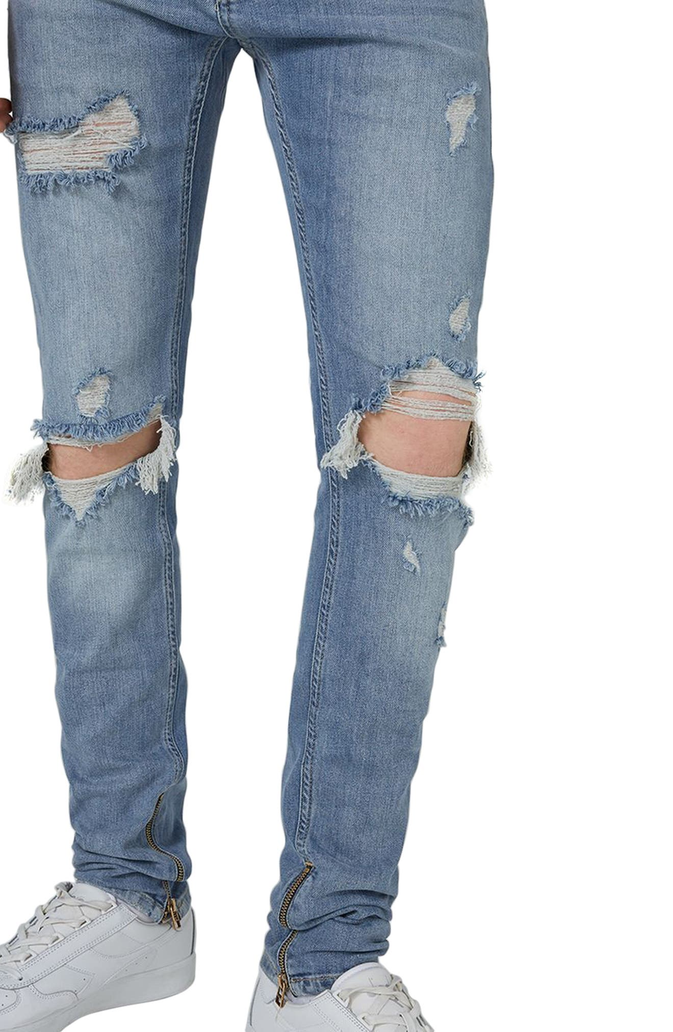 Destroyed Stacker Jeans,                             Alternate thumbnail 3, color,                             Blue