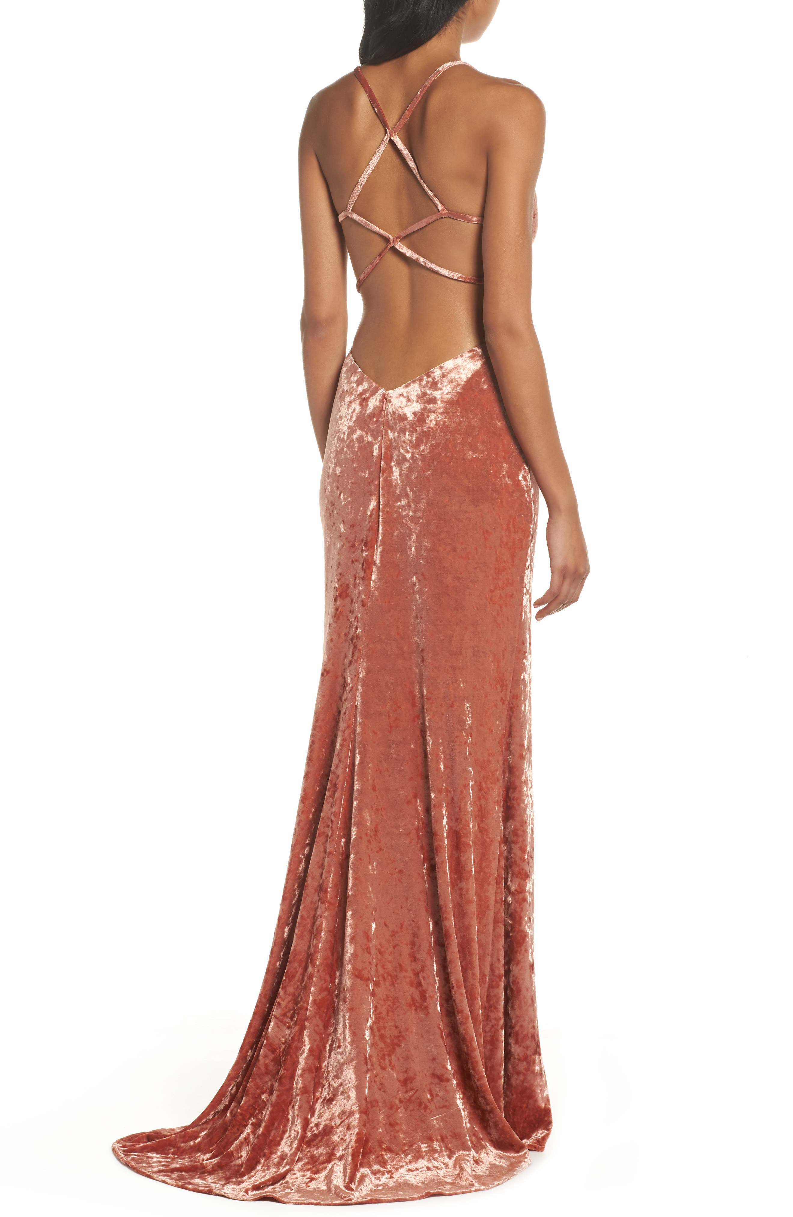Crushed Velvet Sheath Gown,                             Alternate thumbnail 2, color,                             Blush