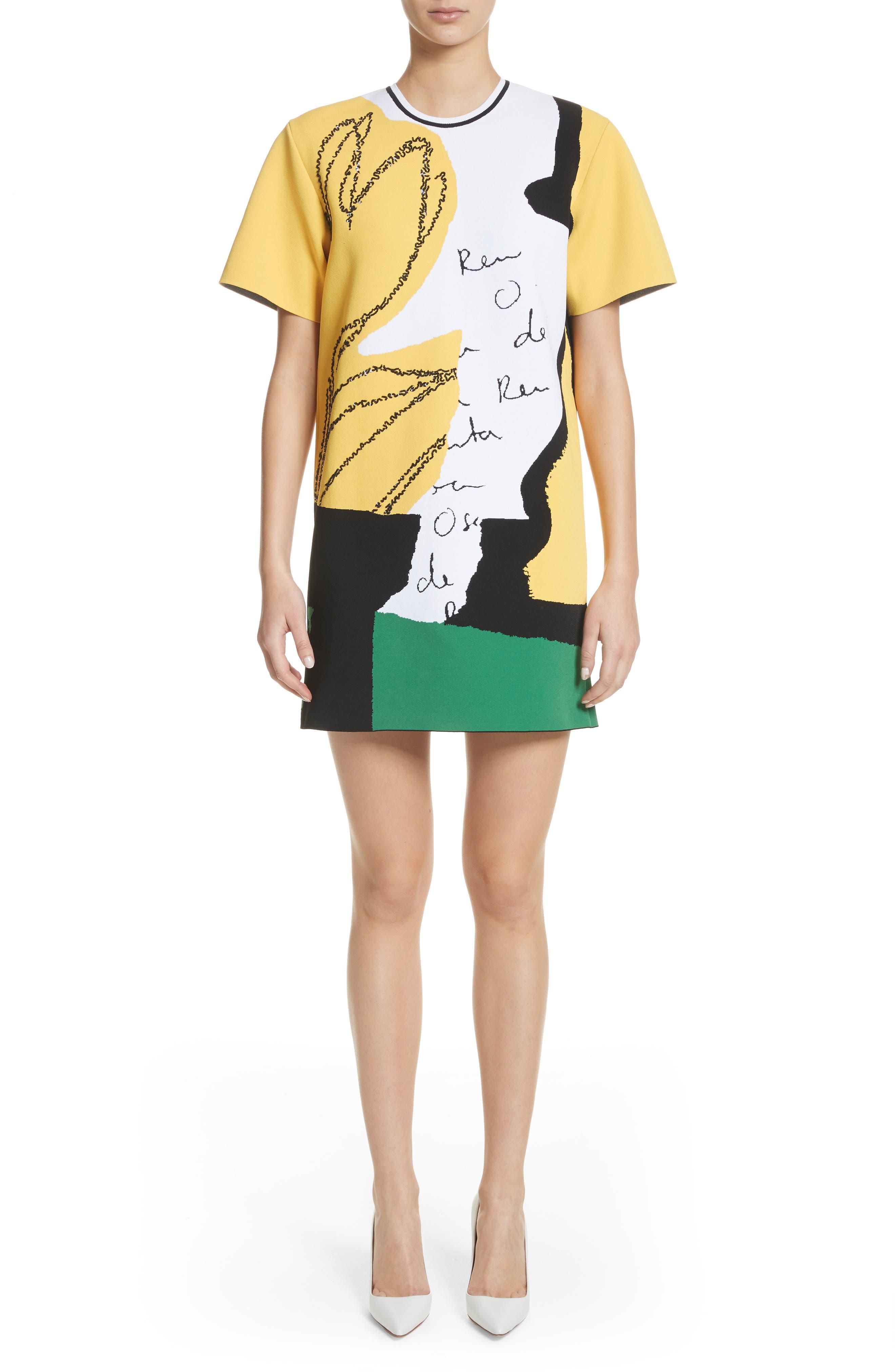 Oscar de la Renta Abstract Intarsia Knit Dress