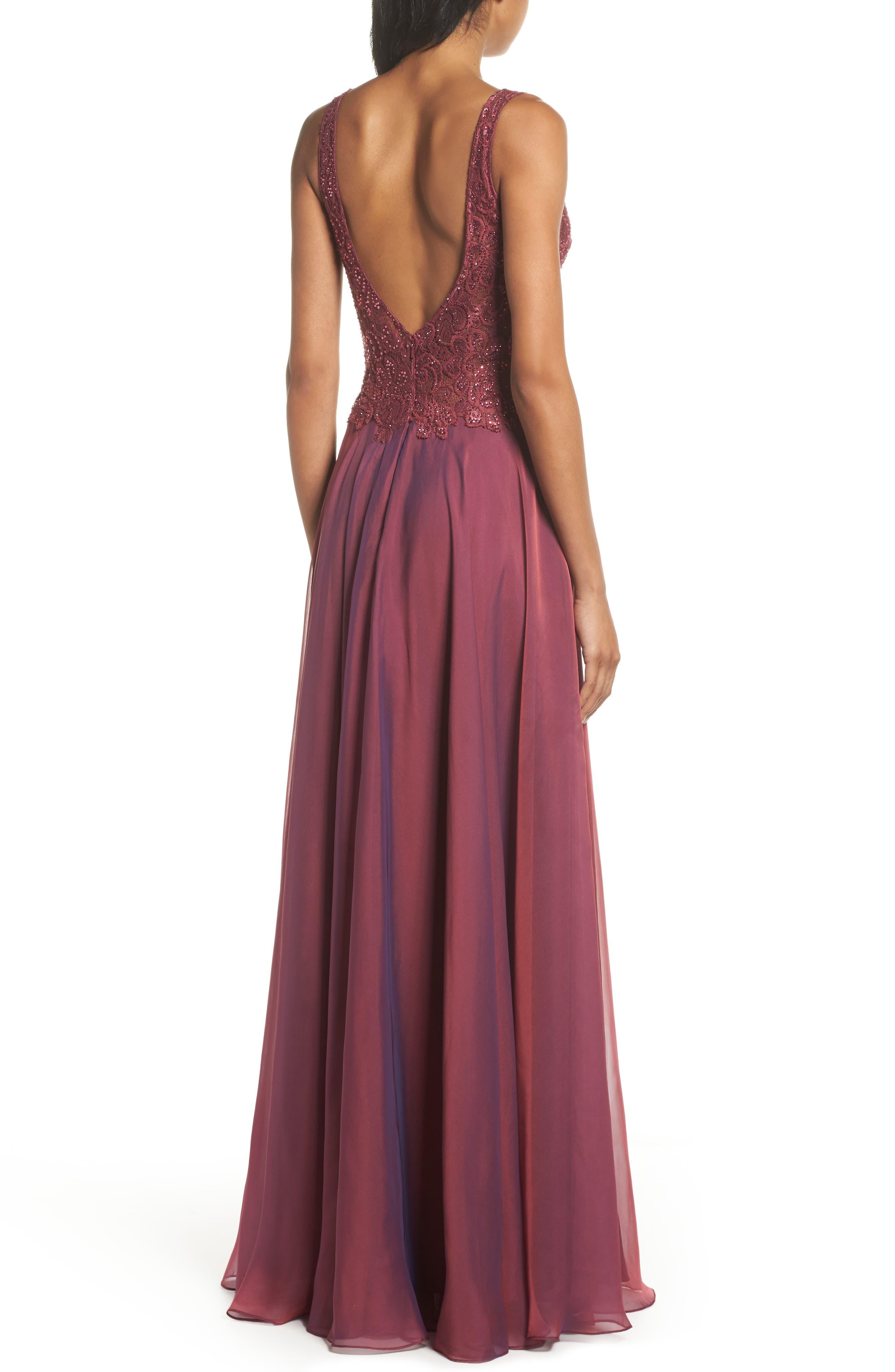 Alternate Image 2  - La Femme Lace & Chiffon A-Line Gown