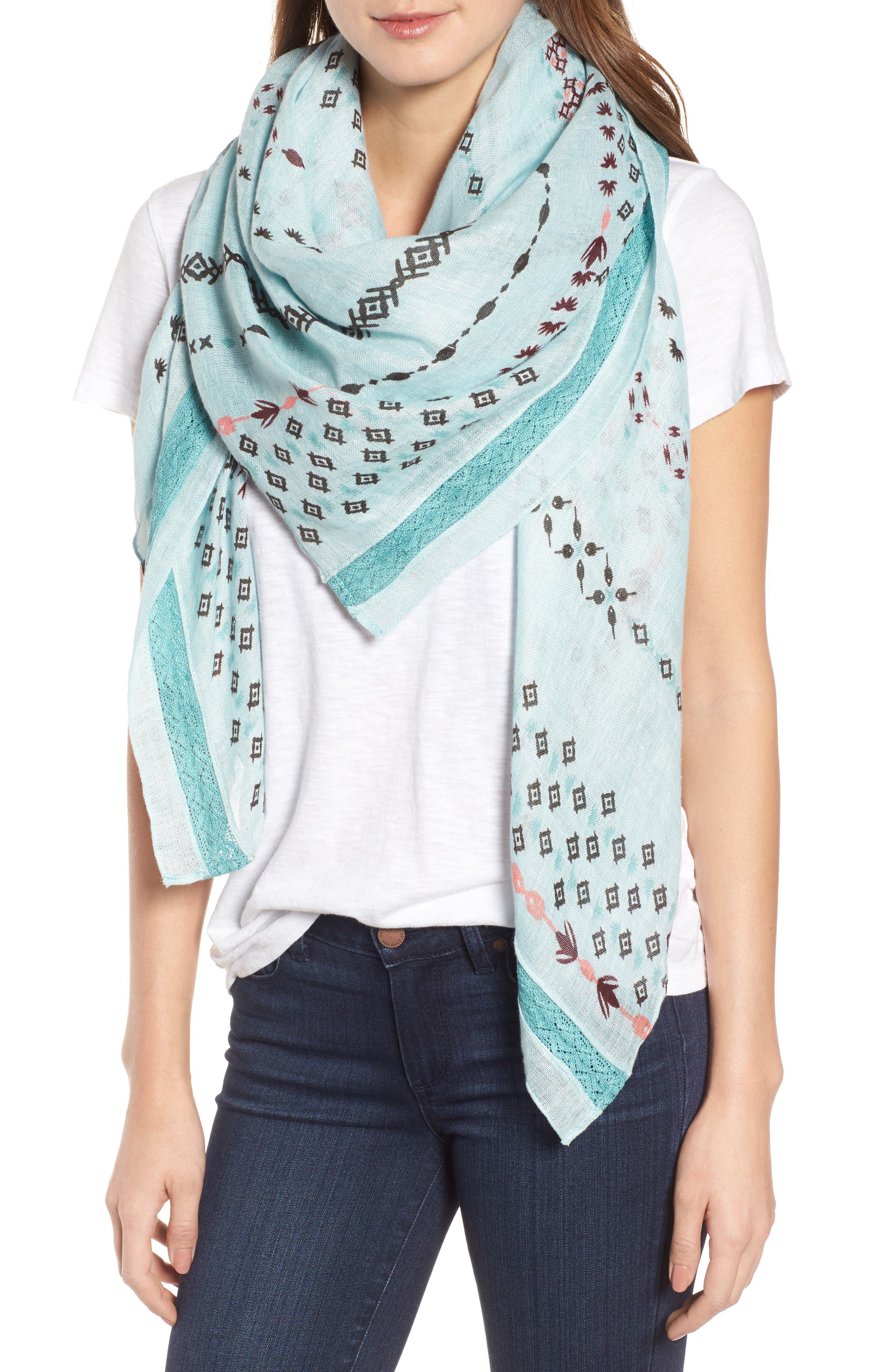 Mixed Print Scarf,                         Main,                         color, Teal Dreamy Geo