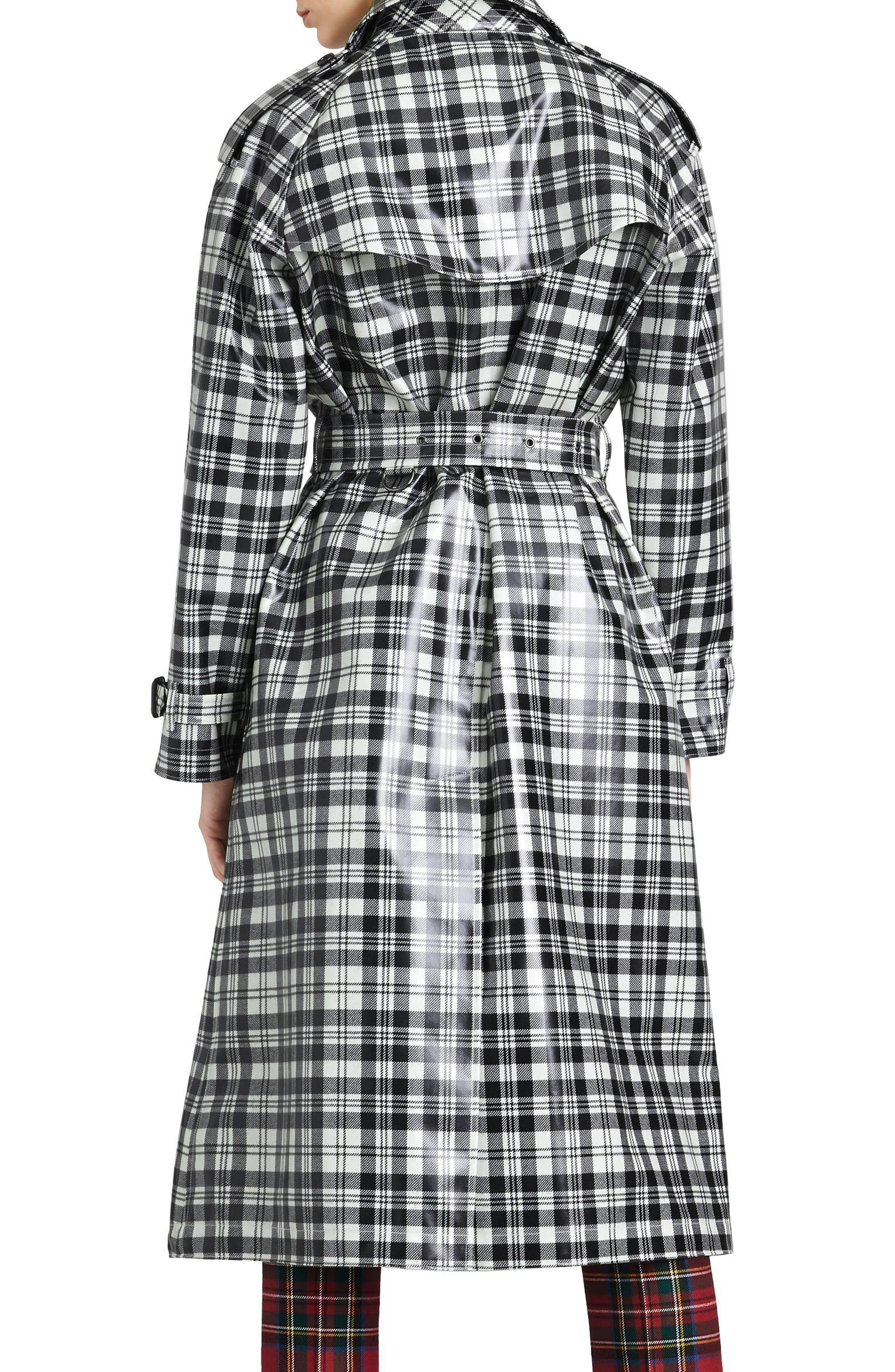 Eastheath Plaid Coated Wool Trench Coat,                             Alternate thumbnail 2, color,                             Black/ White