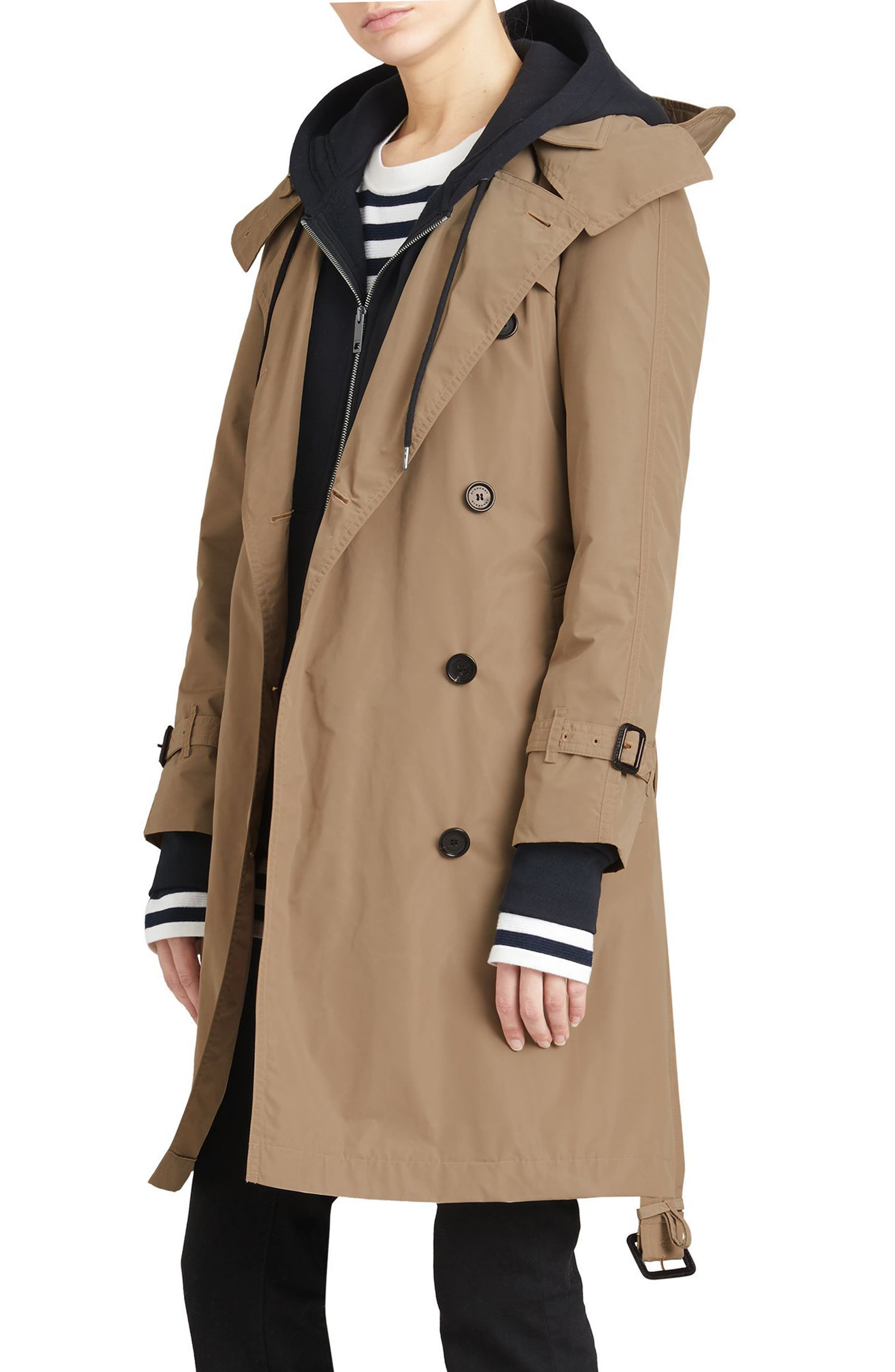 Amberford Taffeta Trench Coat with Detachable Hood,                             Alternate thumbnail 5, color,                             Sisal