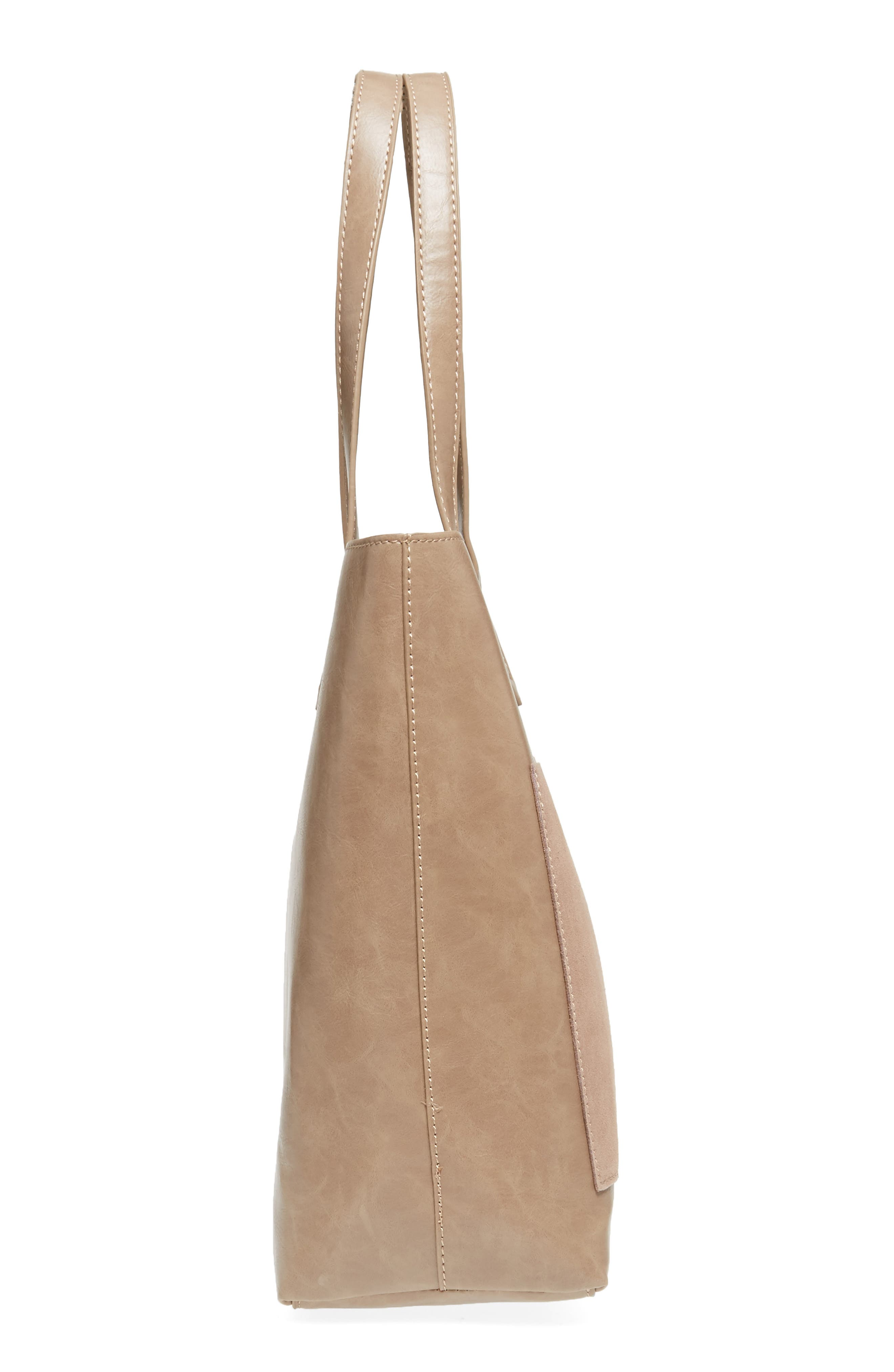 Trish Faux Leather Tote,                             Alternate thumbnail 5, color,                             Taupe