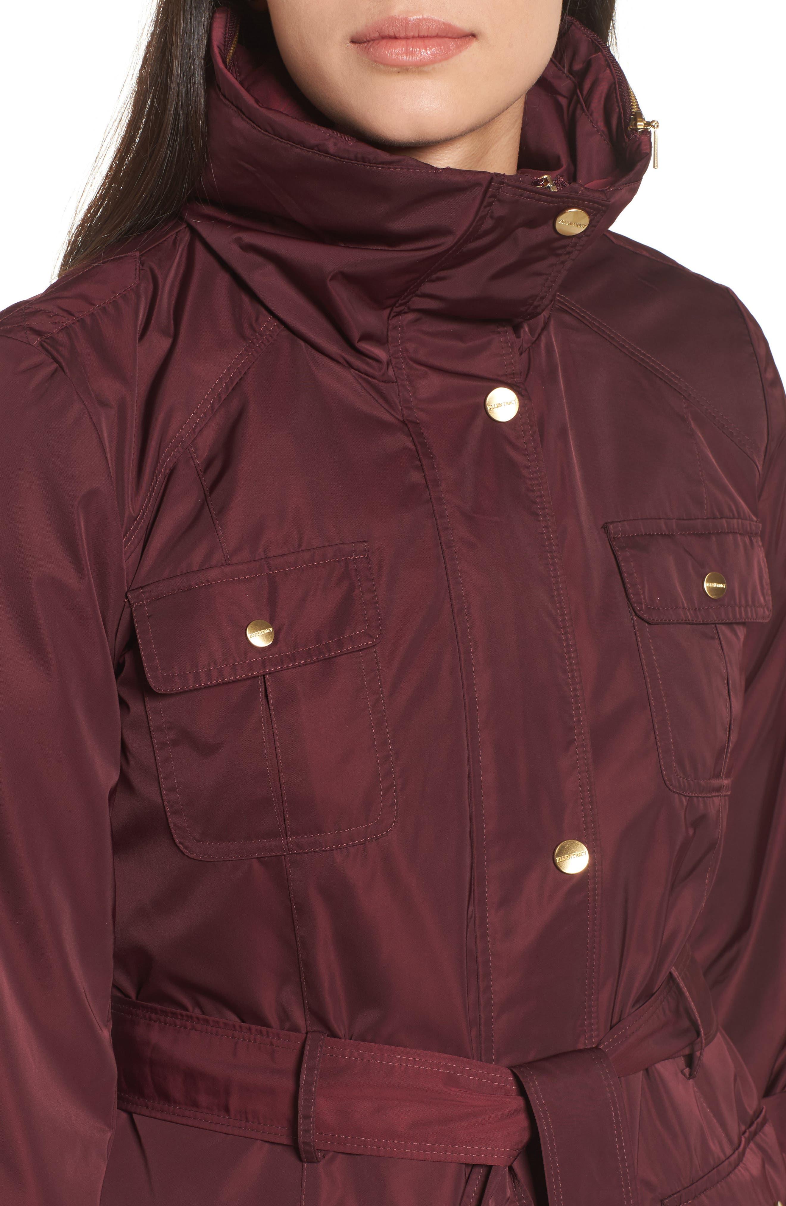 Techno Short Trench Coat,                             Alternate thumbnail 4, color,                             Burgundy