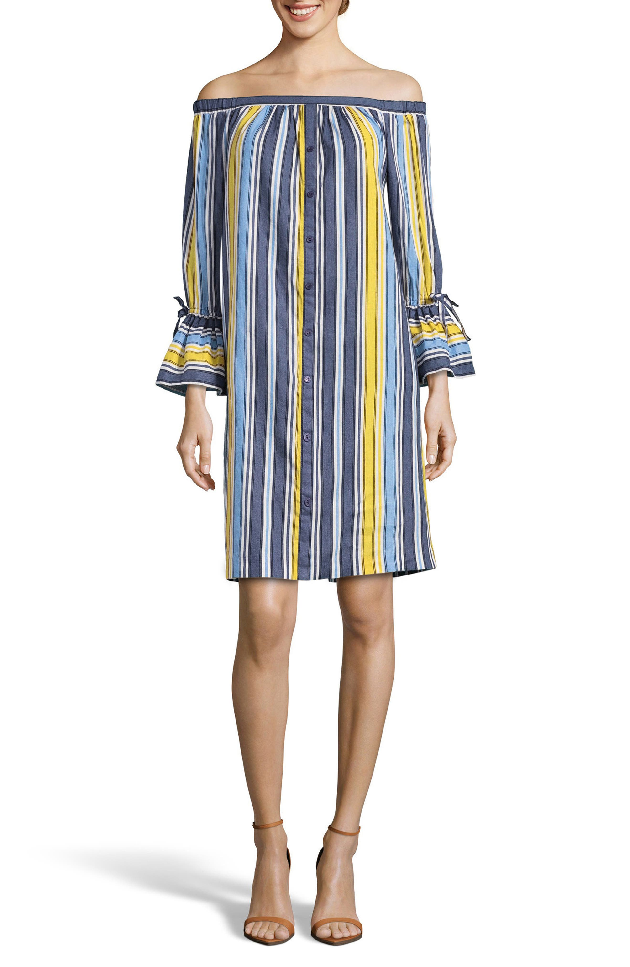 Stripe Off the Shoulder Shirtdress,                             Main thumbnail 1, color,                             Blue/ Yellow