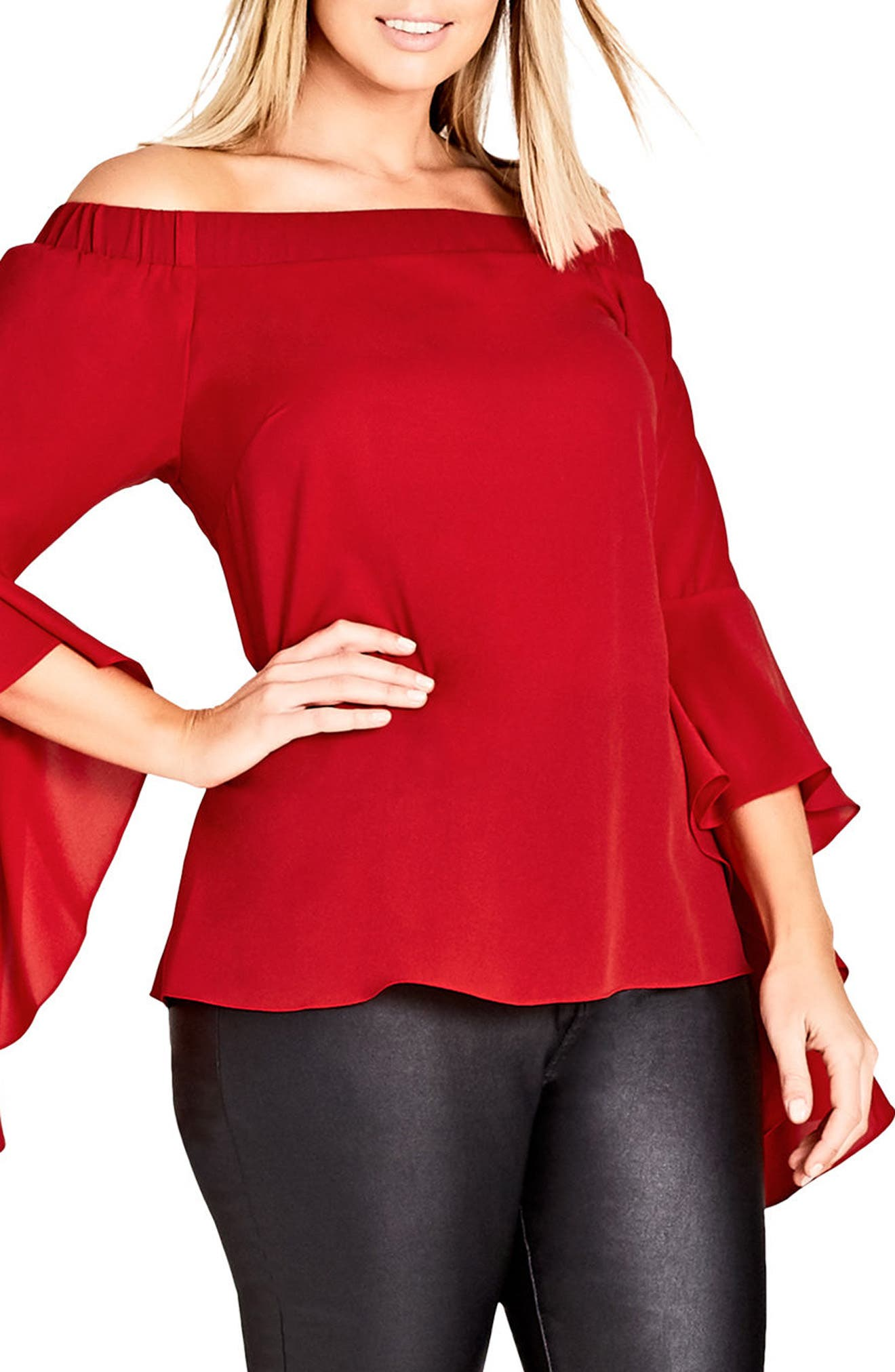 Main Image - City Chic Romantic Off the Shoulder Bell Sleeve Top (Plus Size)