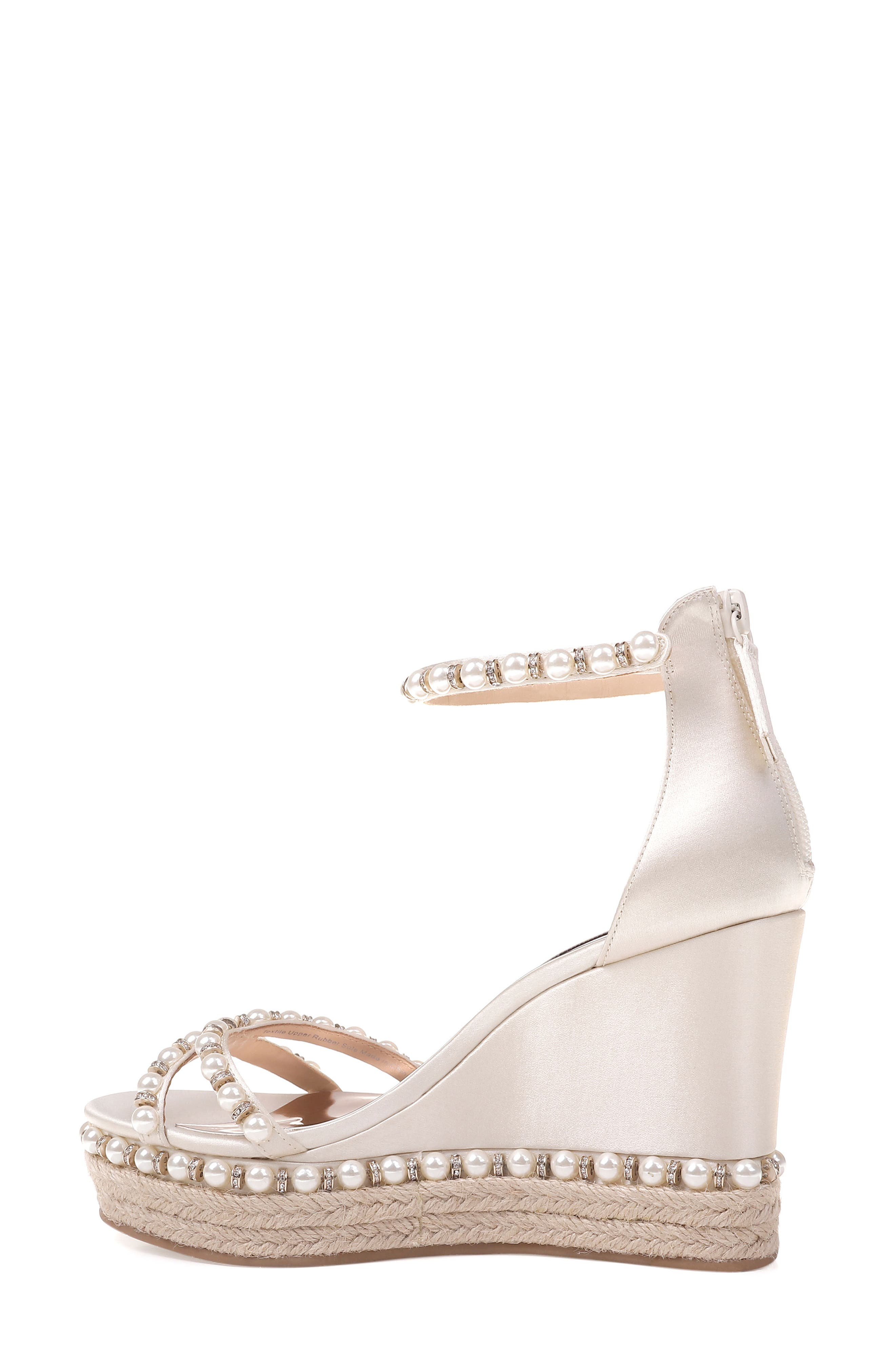 Sloan Wedge Sandal,                             Alternate thumbnail 2, color,                             Ivory Satin