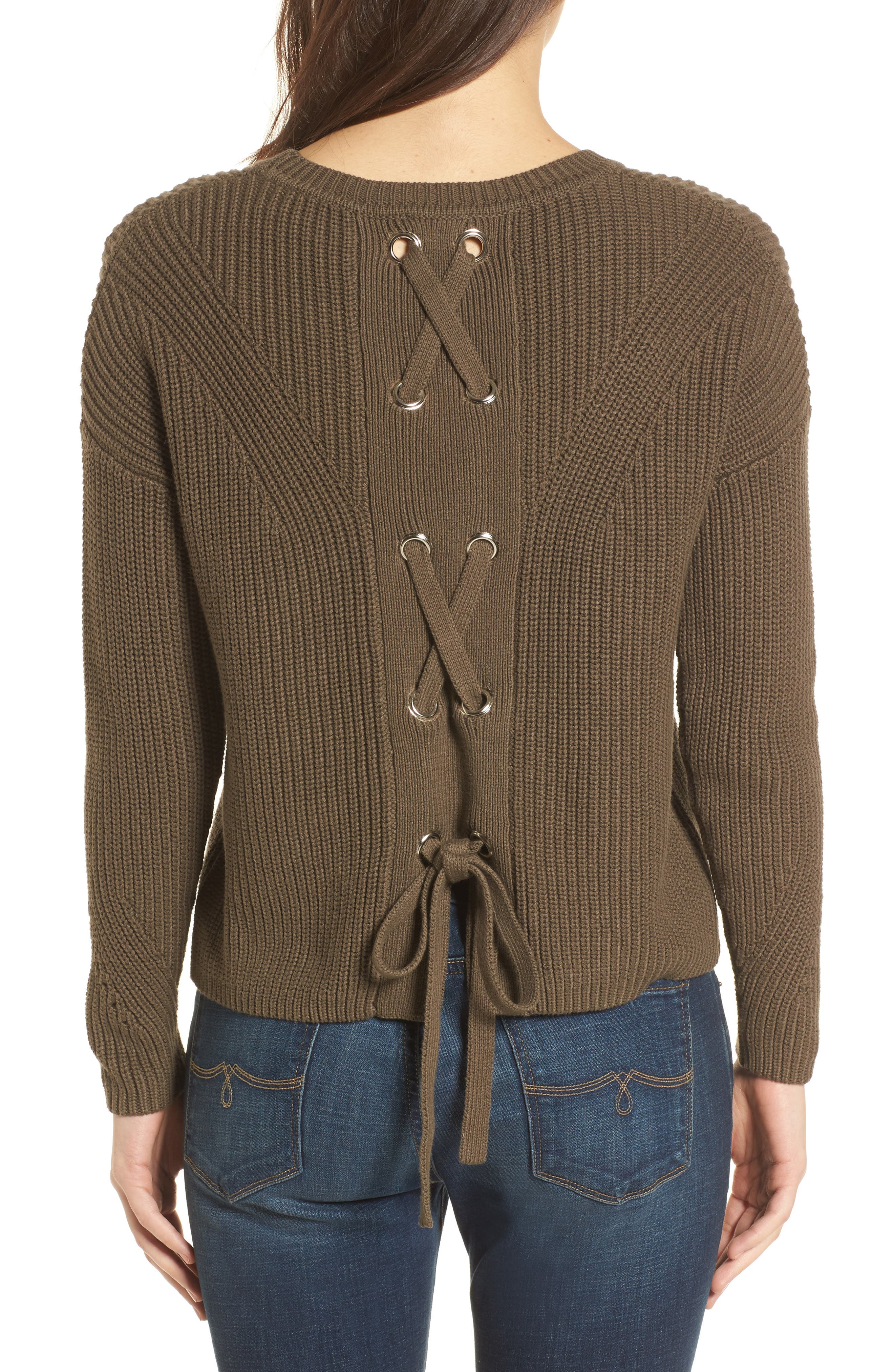 Alternate Image 2  - Lucky Brand Lace-Up Back Sweater
