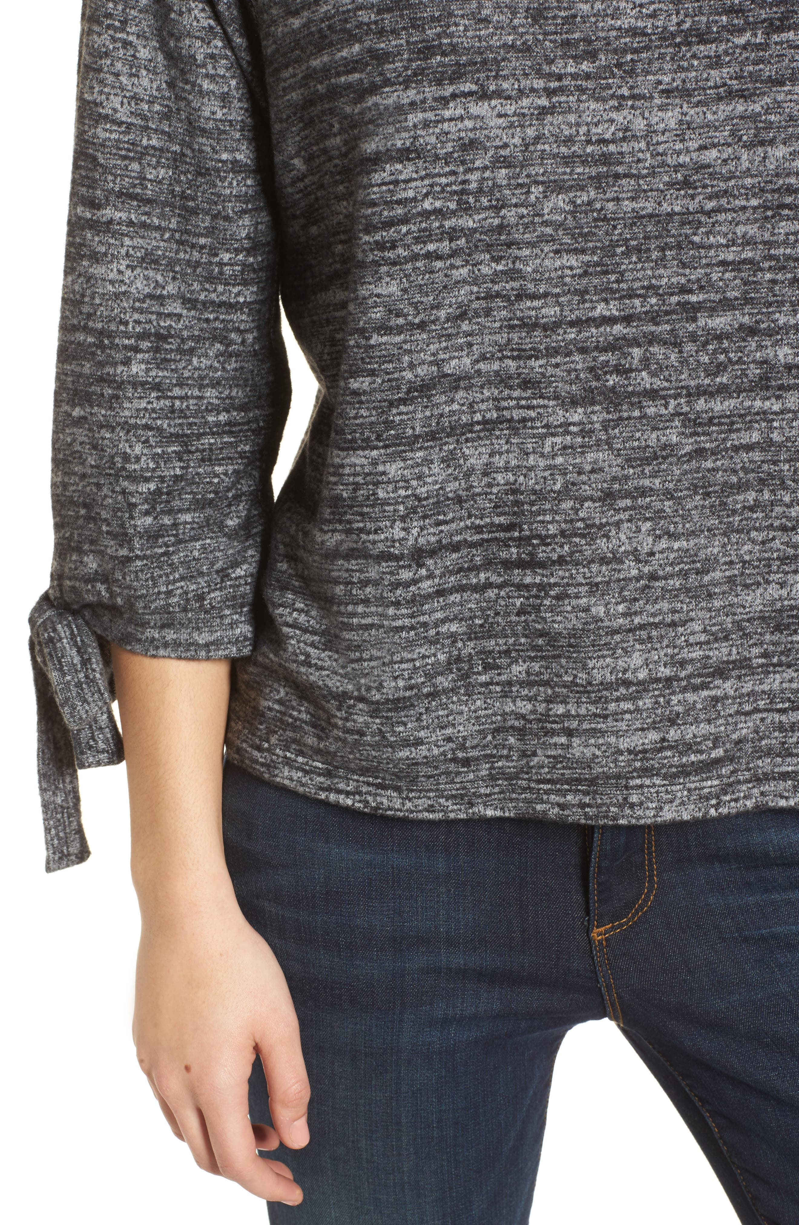 Tie Sleeve Jersey Top,                             Alternate thumbnail 4, color,                             Marled