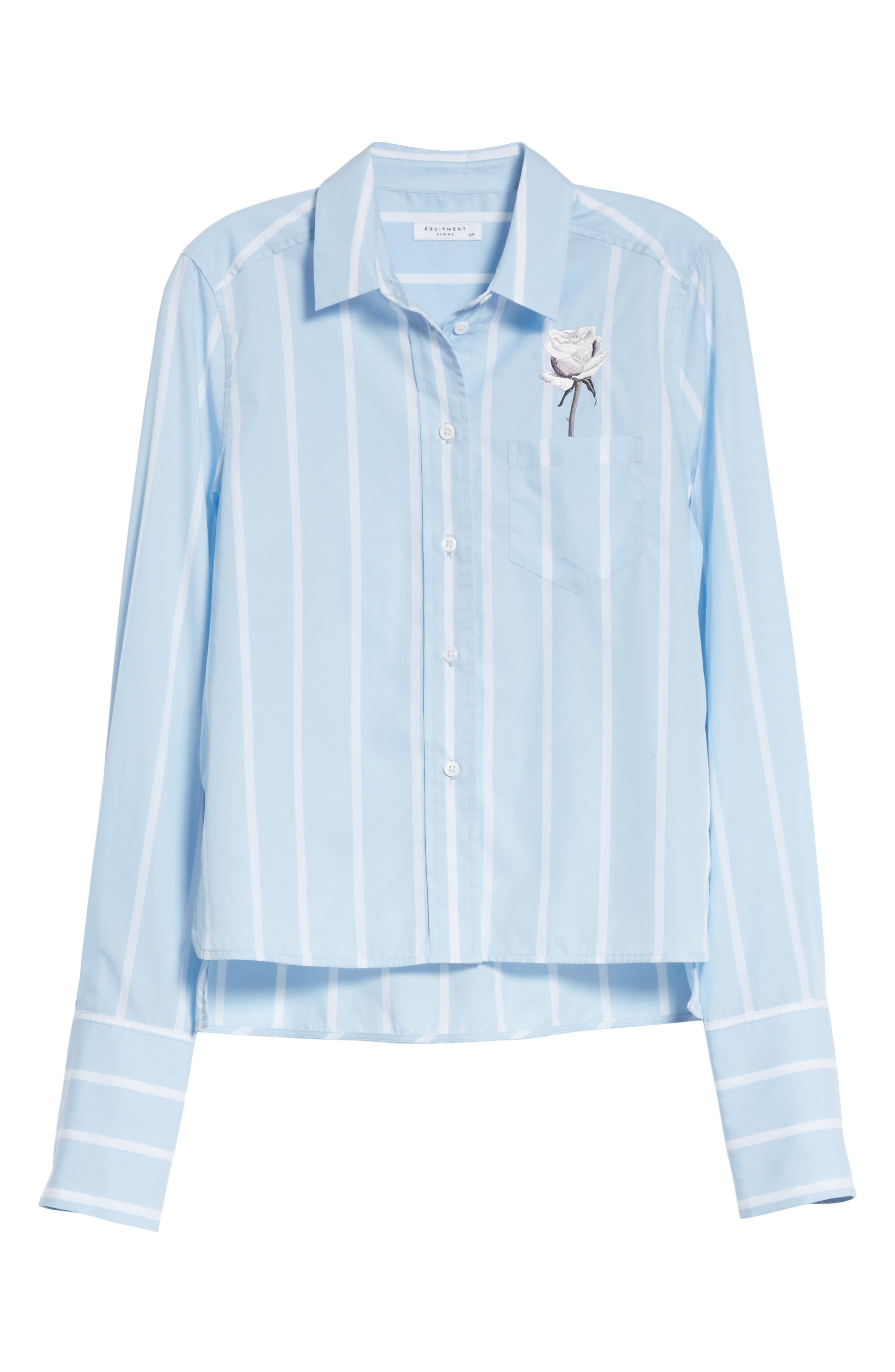 Huntley Embroidered Stripe Cotton Shirt,                             Alternate thumbnail 6, color,                             Skylight / Bright White