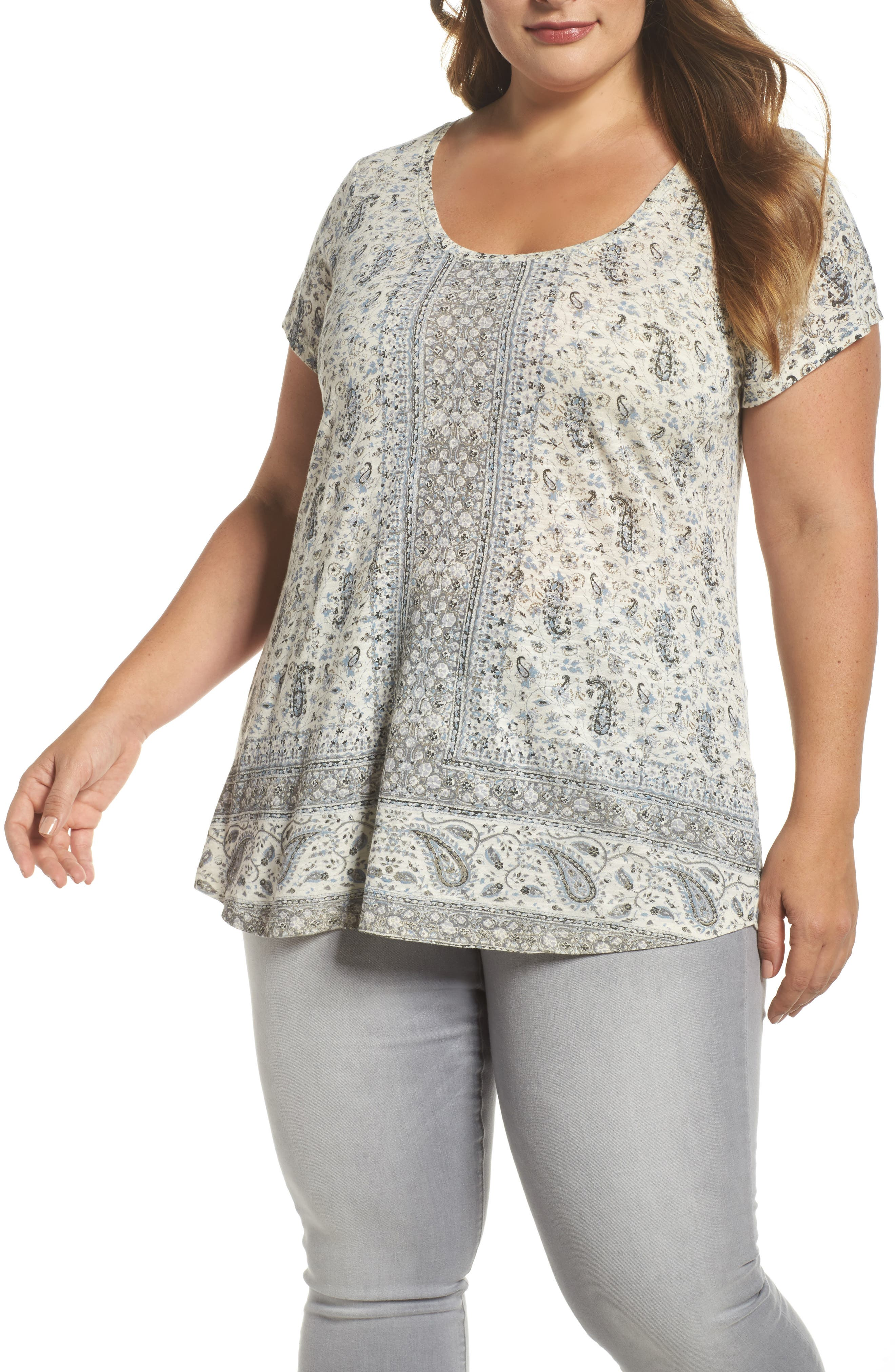 Alternate Image 1 Selected - Lucky Brand Erun Print Tee (Plus Size)