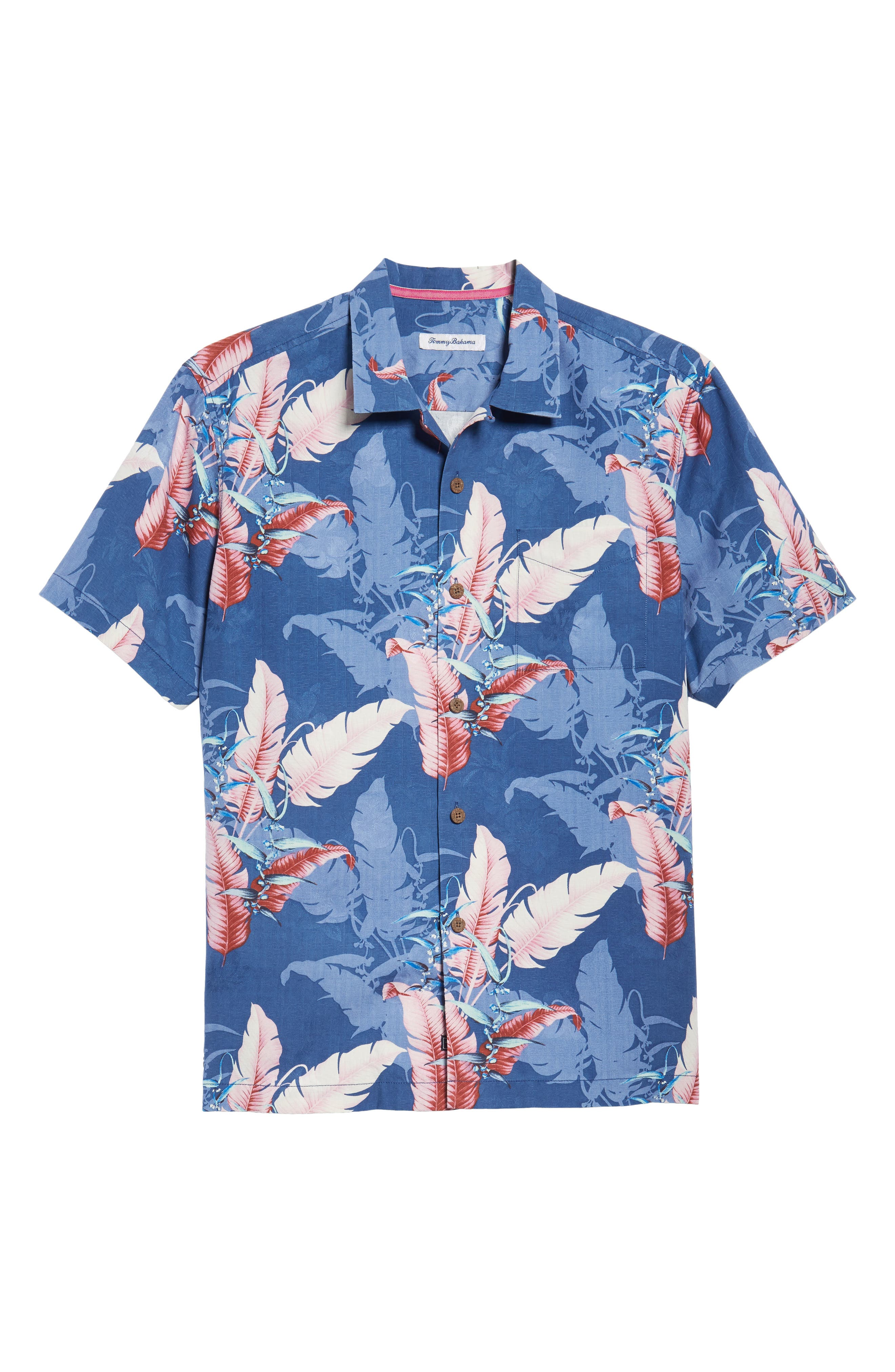 Shadow Fronds Silk Camp Shirt,                             Alternate thumbnail 6, color,                             Dockside Blue