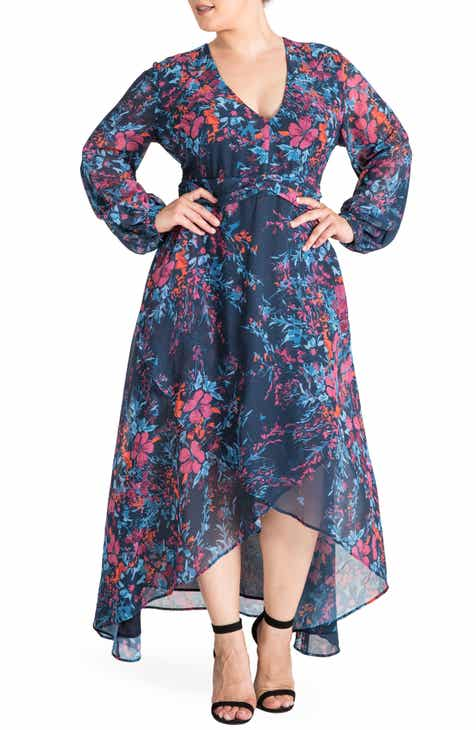 ebdcf04c78c Standards   Practices Floral Chiffon Maxi Dress (Plus Size)